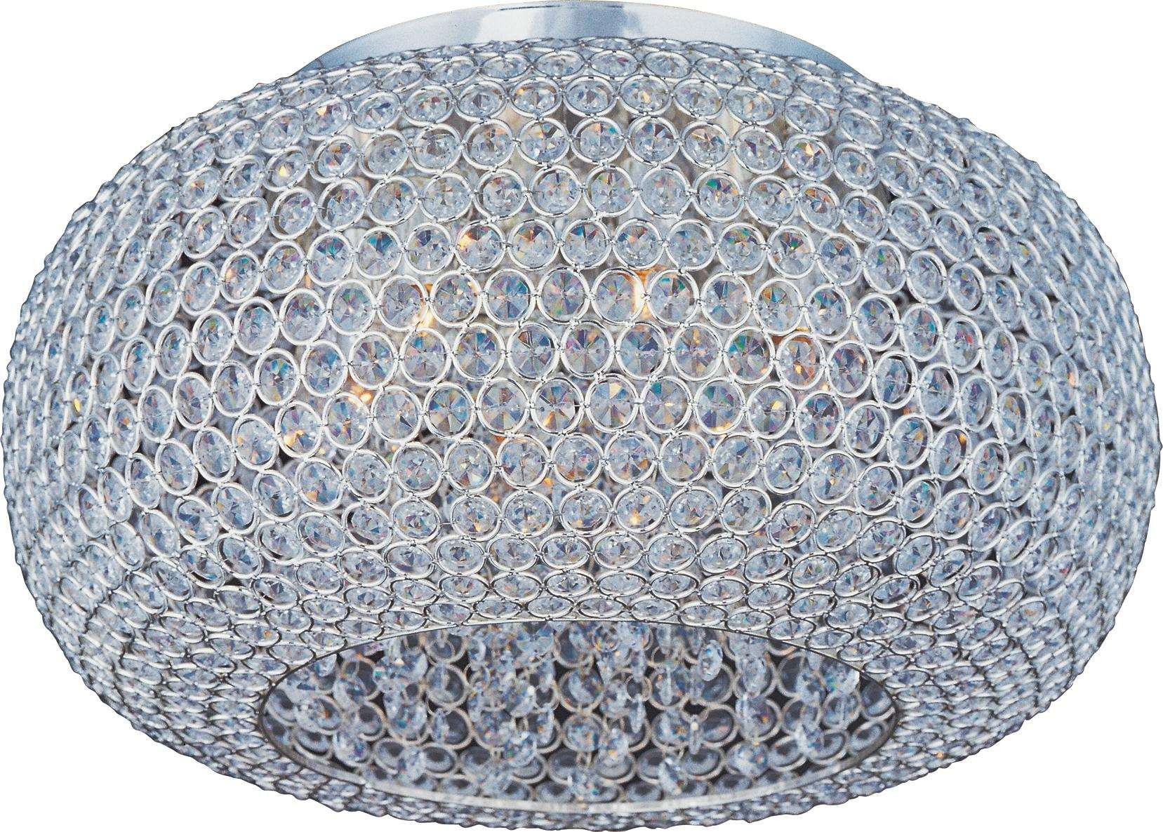 Maxim 39876BCPS Glimmer 6-Light Flush Mount in Plated Silver with Beveled Crystal glass.