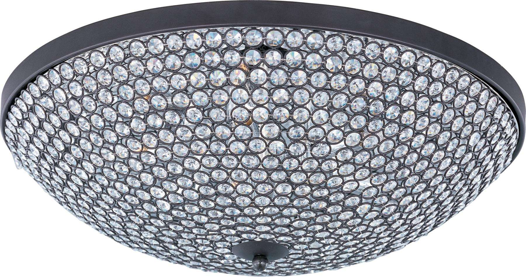 Maxim 39873BCBZ Glimmer 9-Light Flush Mount in Bronze with Beveled Crystal glass.