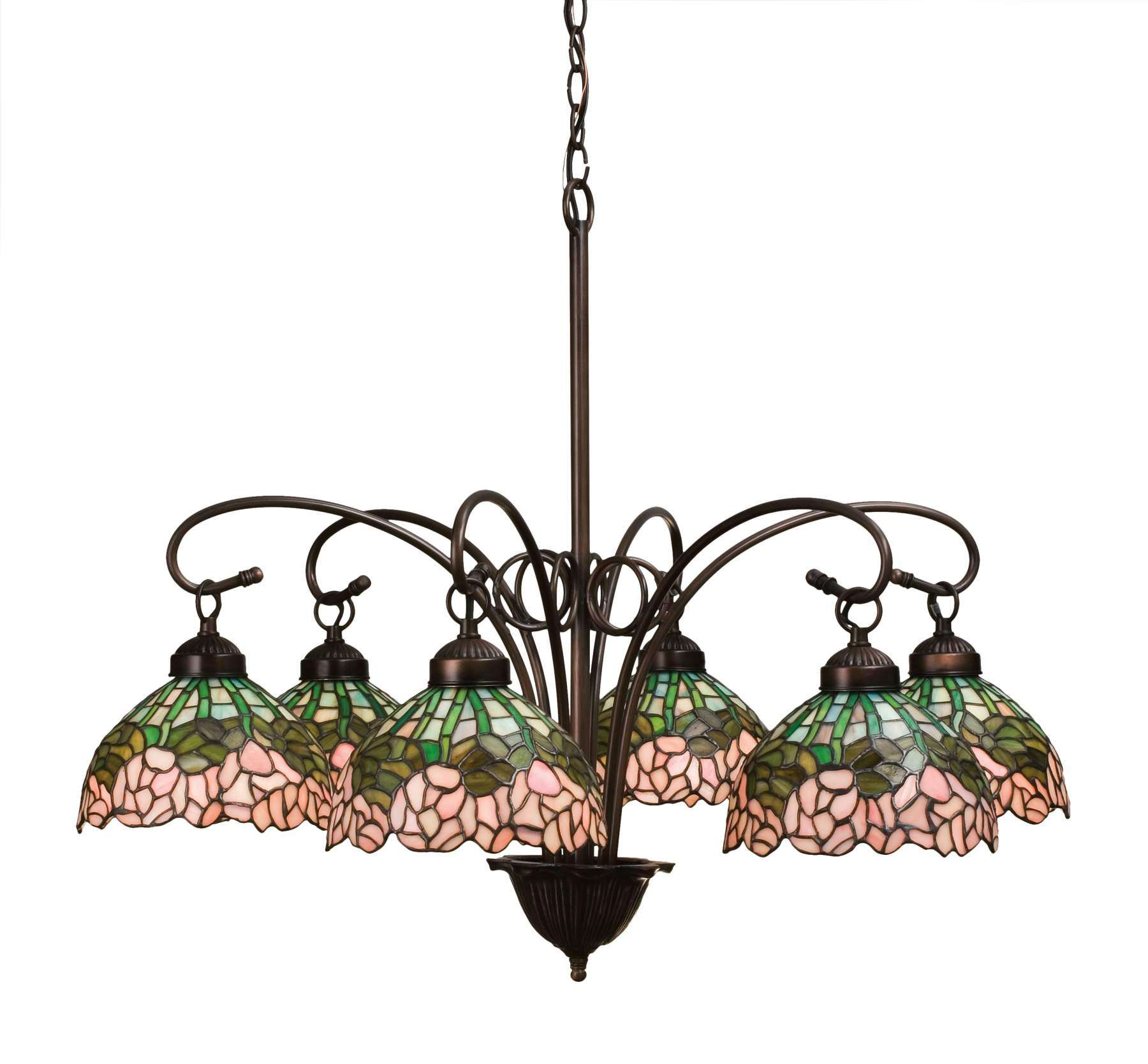 Meyda Tiffany 18713 Cabbage Rose 6 Lt Chandelier in Mahogany Bronze finish