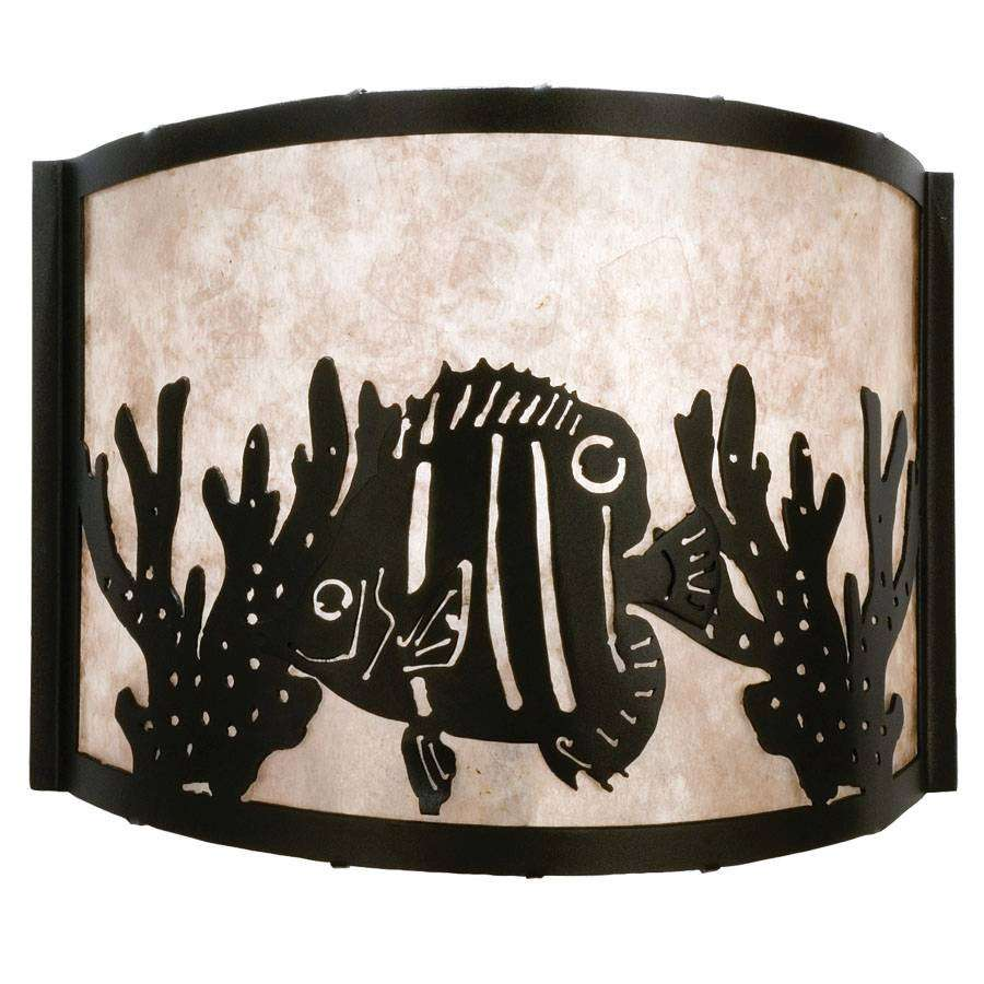 Meyda Tiffany 23825 Tropical Fish Wall Sconce in Black finish with Silver Mica