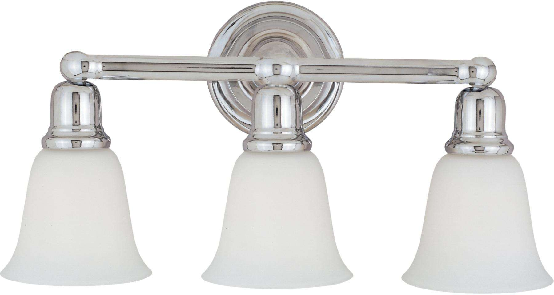 Maxim 11088WTPC Bel Air 3-Light Bath Vanity in Polished Chrome with White glass.
