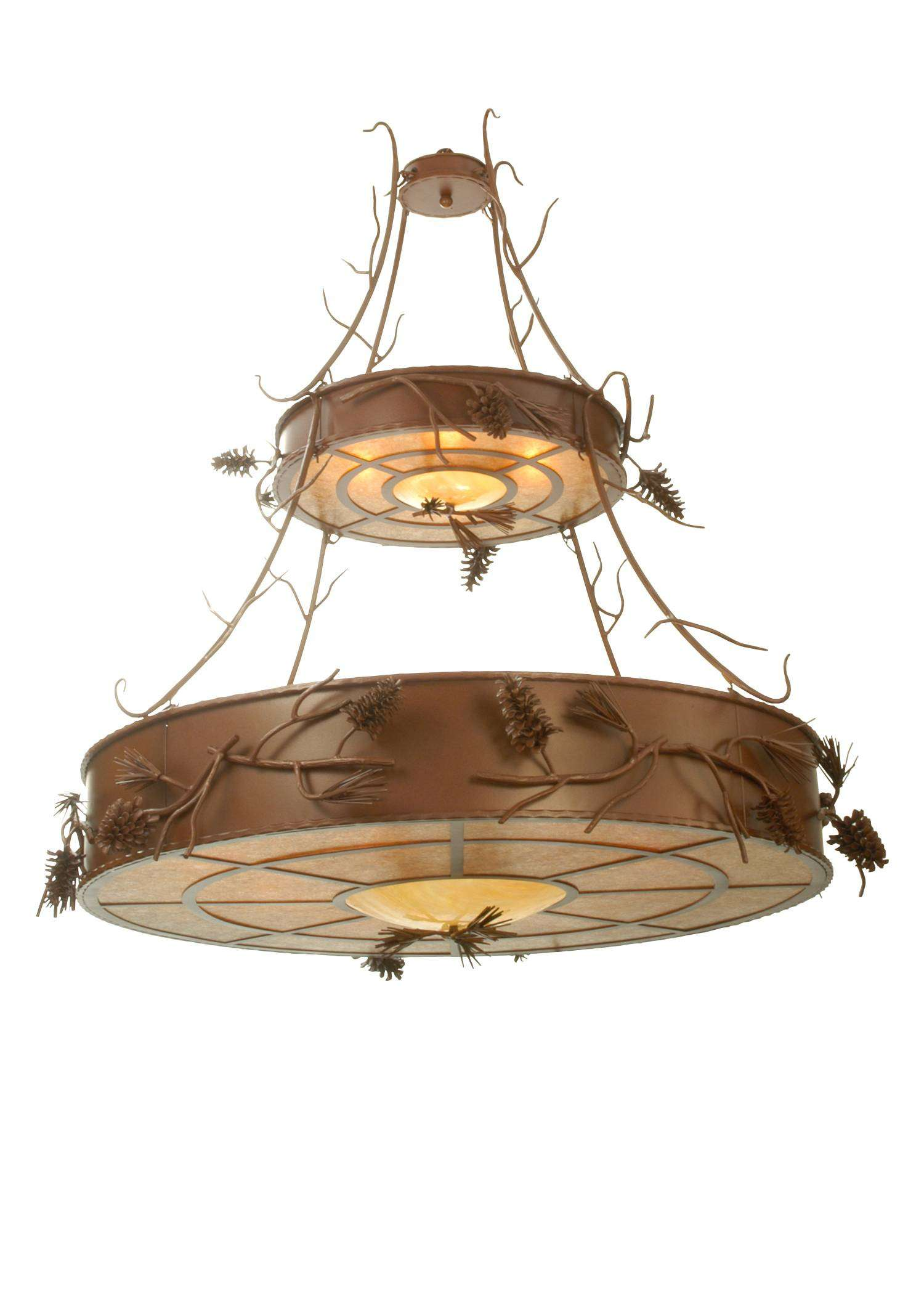Meyda Tiffany 79713 Woodland Pine 2 Tier Inverted Pendant in Rust finish with Amber Mica