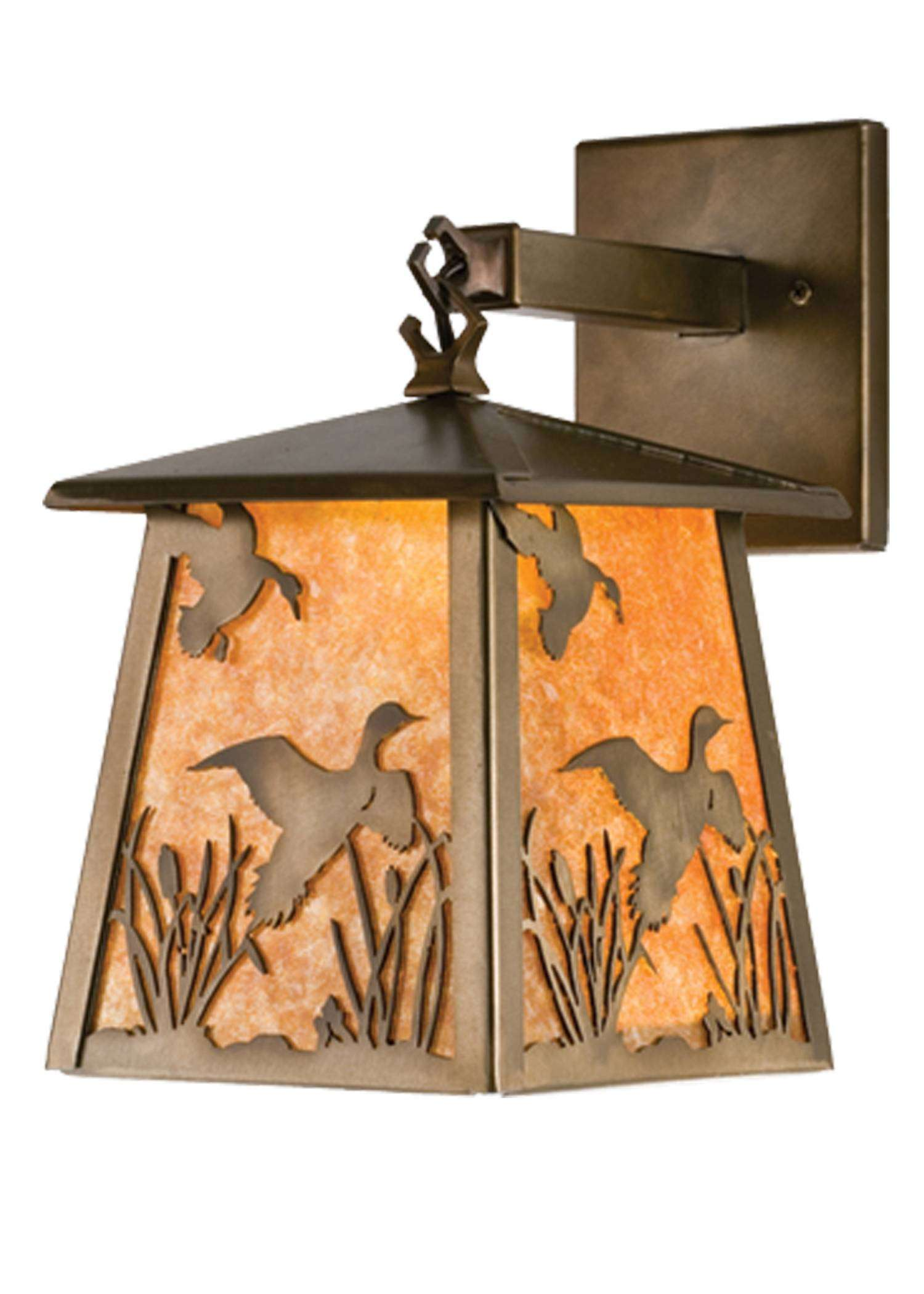 Meyda Tiffany 82652 Ducks In Flight Hanging Wall Sconce in Antique Copper finish with Amber Mica