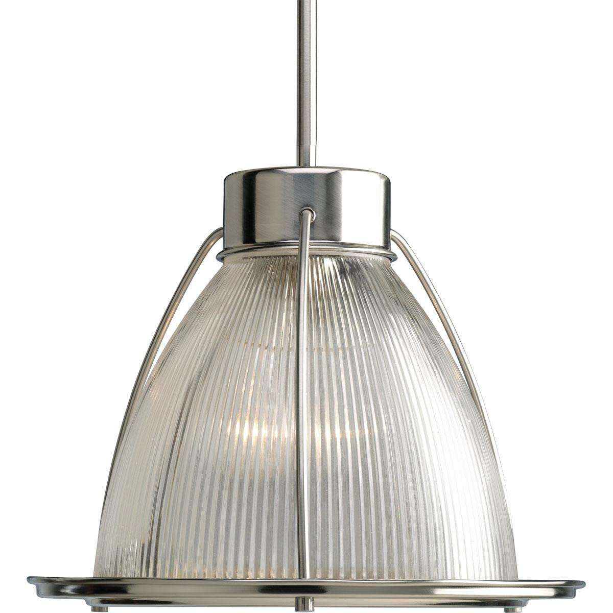 Progress P5182-09 One-light mini-pendant in Brushed Nickel finish with clear prismatic glass.