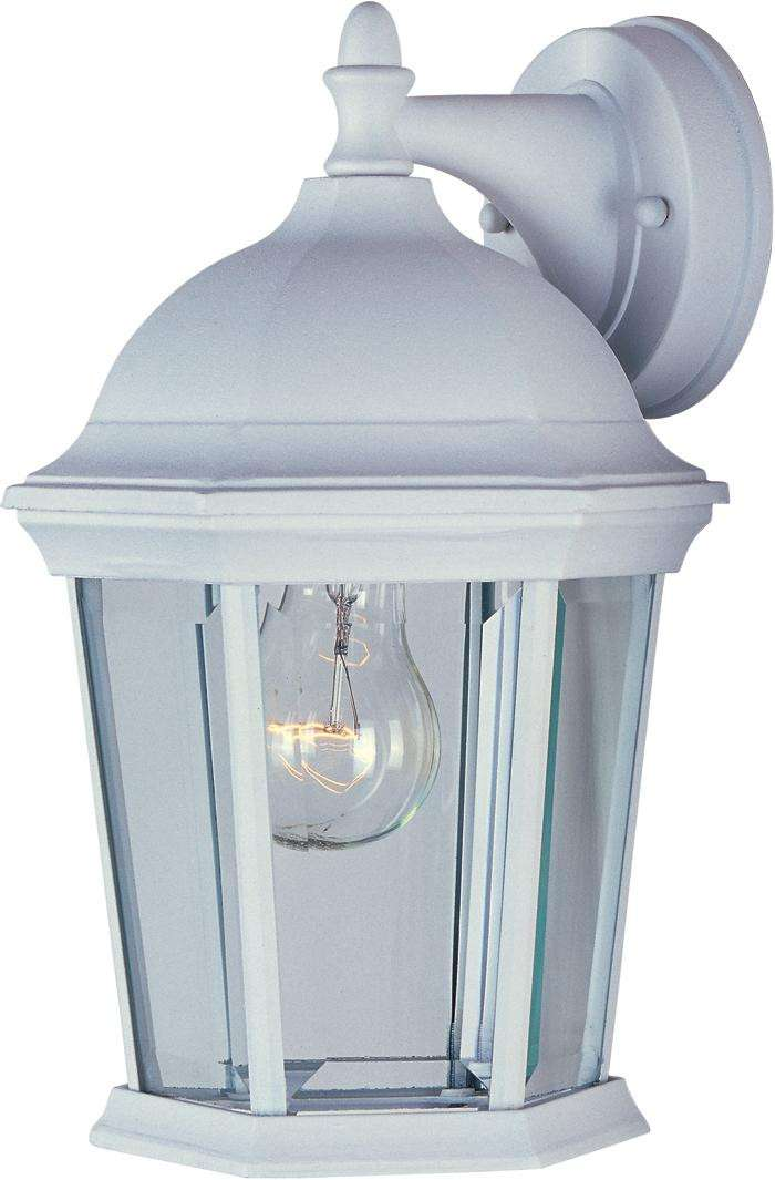 Maxim 1024WT Builder Cast 1-Light Outdoor Wall Lantern in White with Clear glass.
