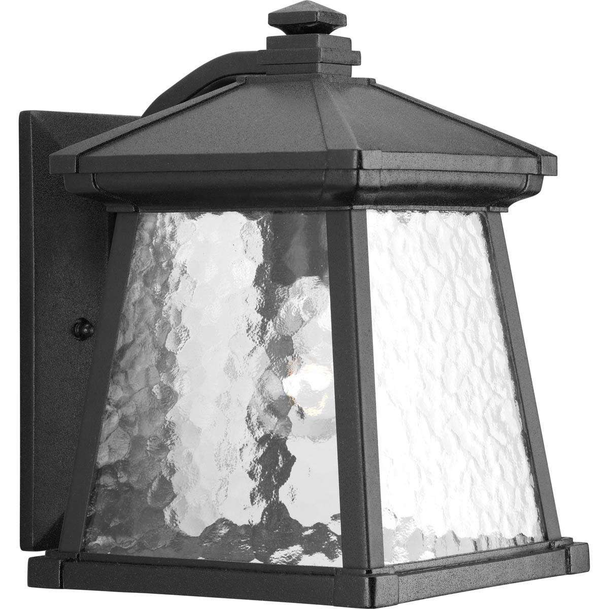 Progress P5907-31 One-light wall lantern in Black finish with clear water glass.
