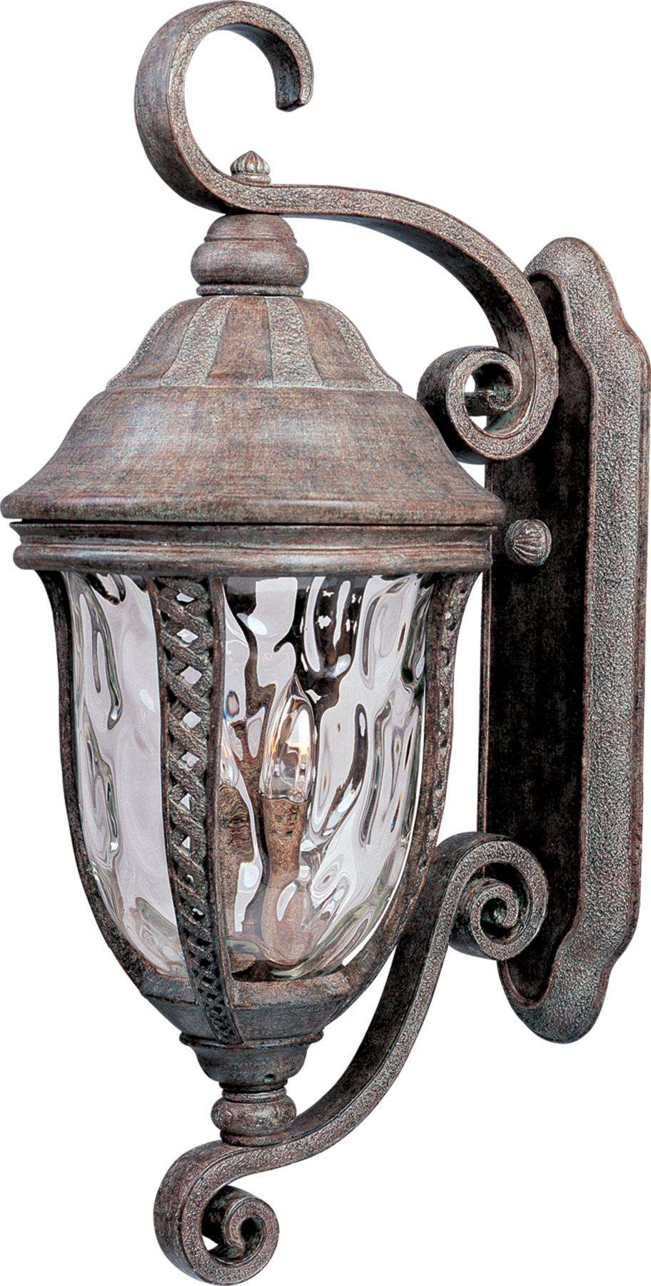 Maxim 3109WGET Whittier Cast 3-Light Outdoor Wall Lantern in Earth Tone with Water Glass glass.