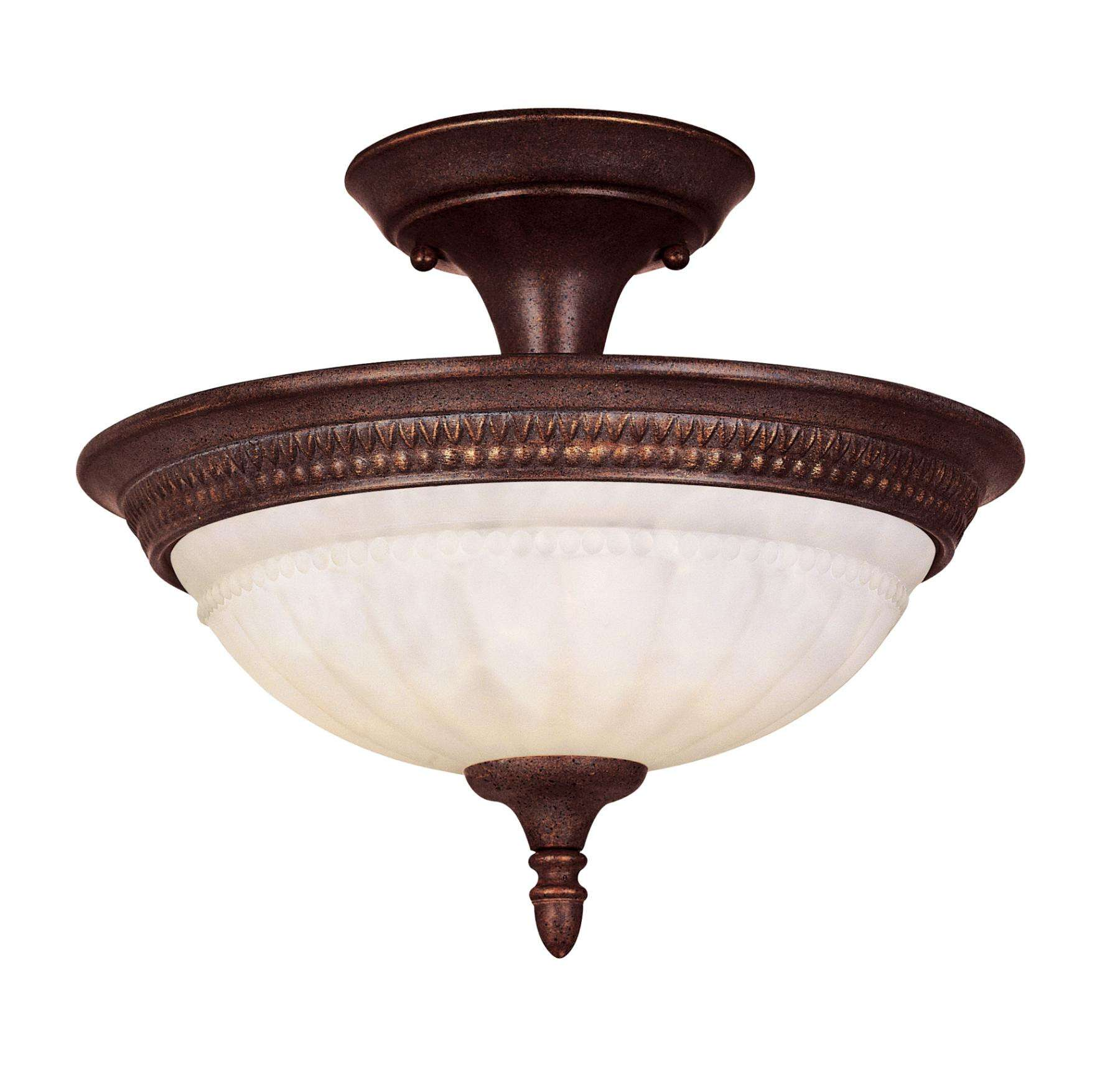 Savoy House KP-6-507-2-40 Liberty Semi-Flush in Walnut Patina Finish with Cream Marble glass