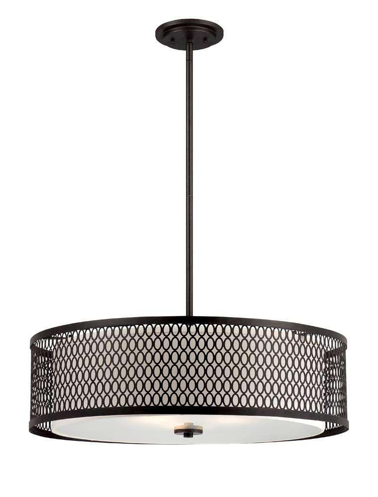 "Designers Fountain 6202-ART Continental 26"" Pendant in Artisan finish with Ivory glass"