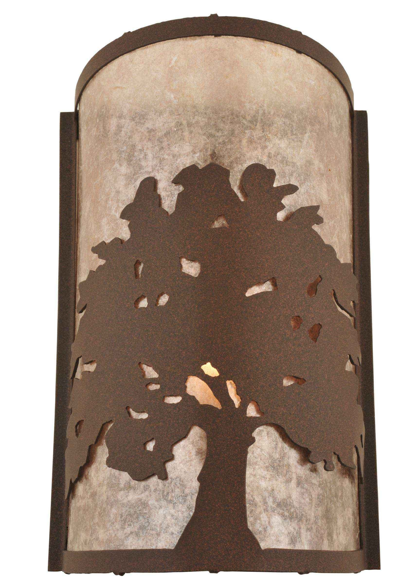 Meyda Tiffany 118535 Oak Tree Wall Sconce in Cafe Noir finish with Silver Mica