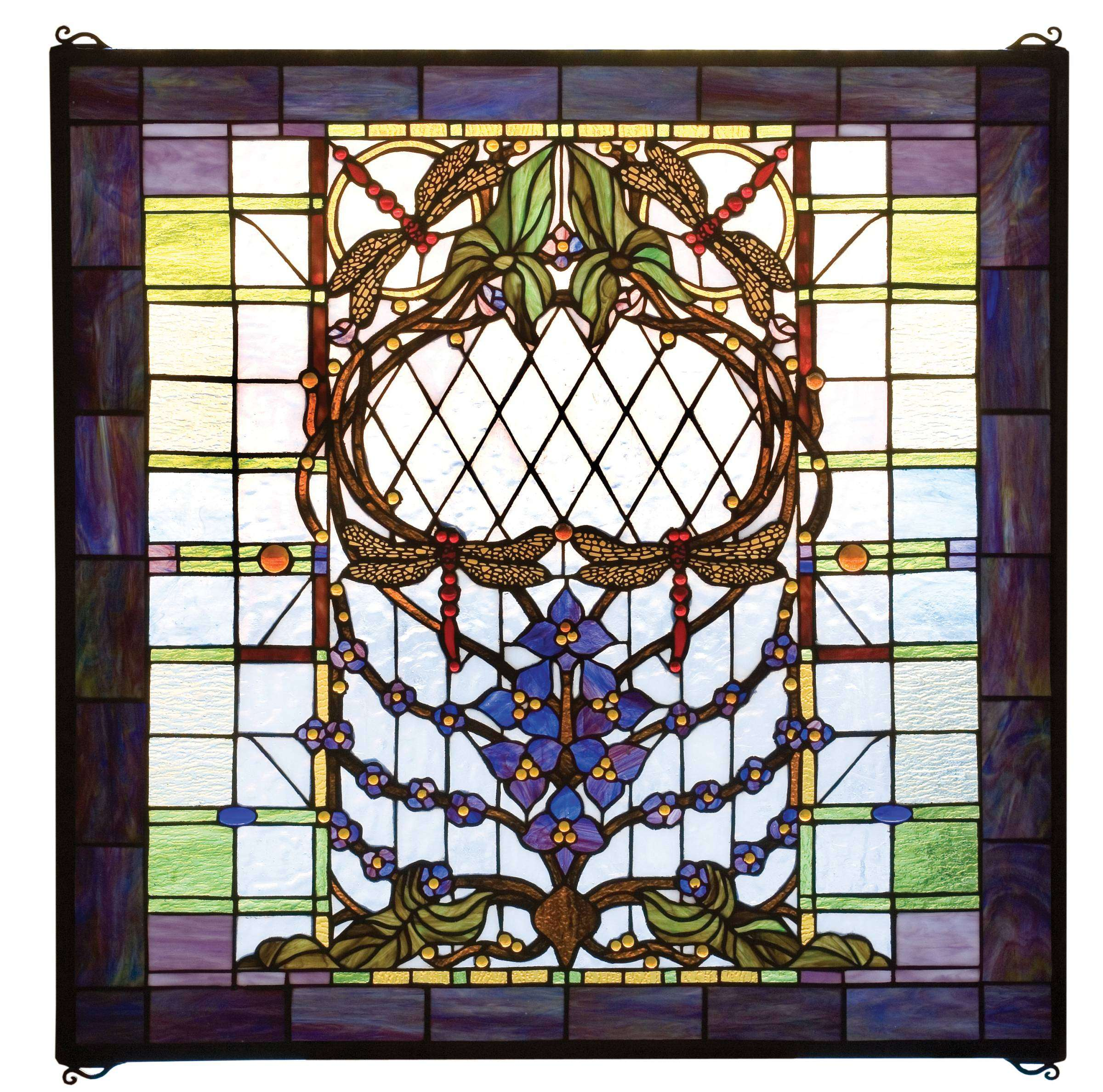 Meyda Tiffany 20579 Dragonfly Allure Stained Glass Window in Tiffany Items finish