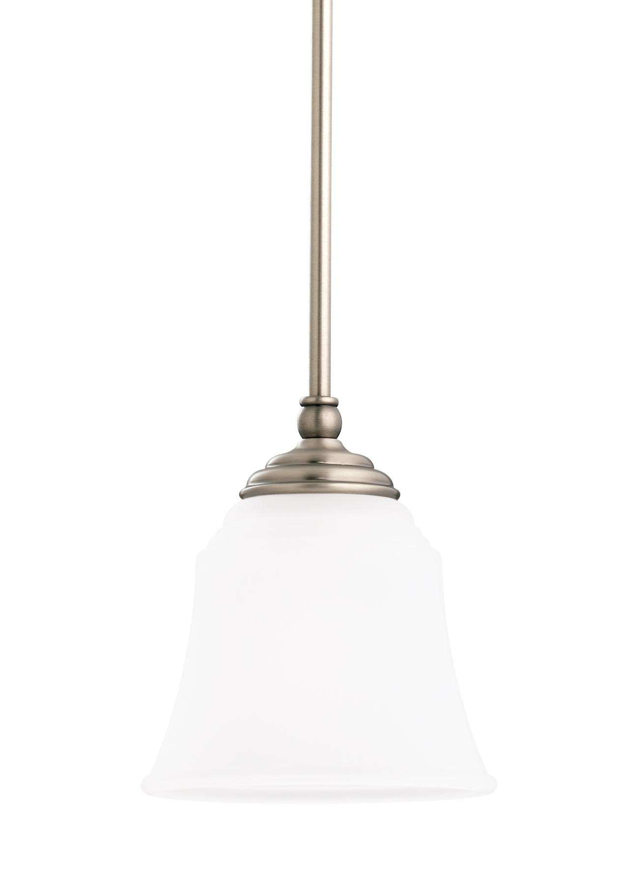 Seagull Lighting 61380-965 Single Light Mini Pendant in Antique Brushed Nickel finish