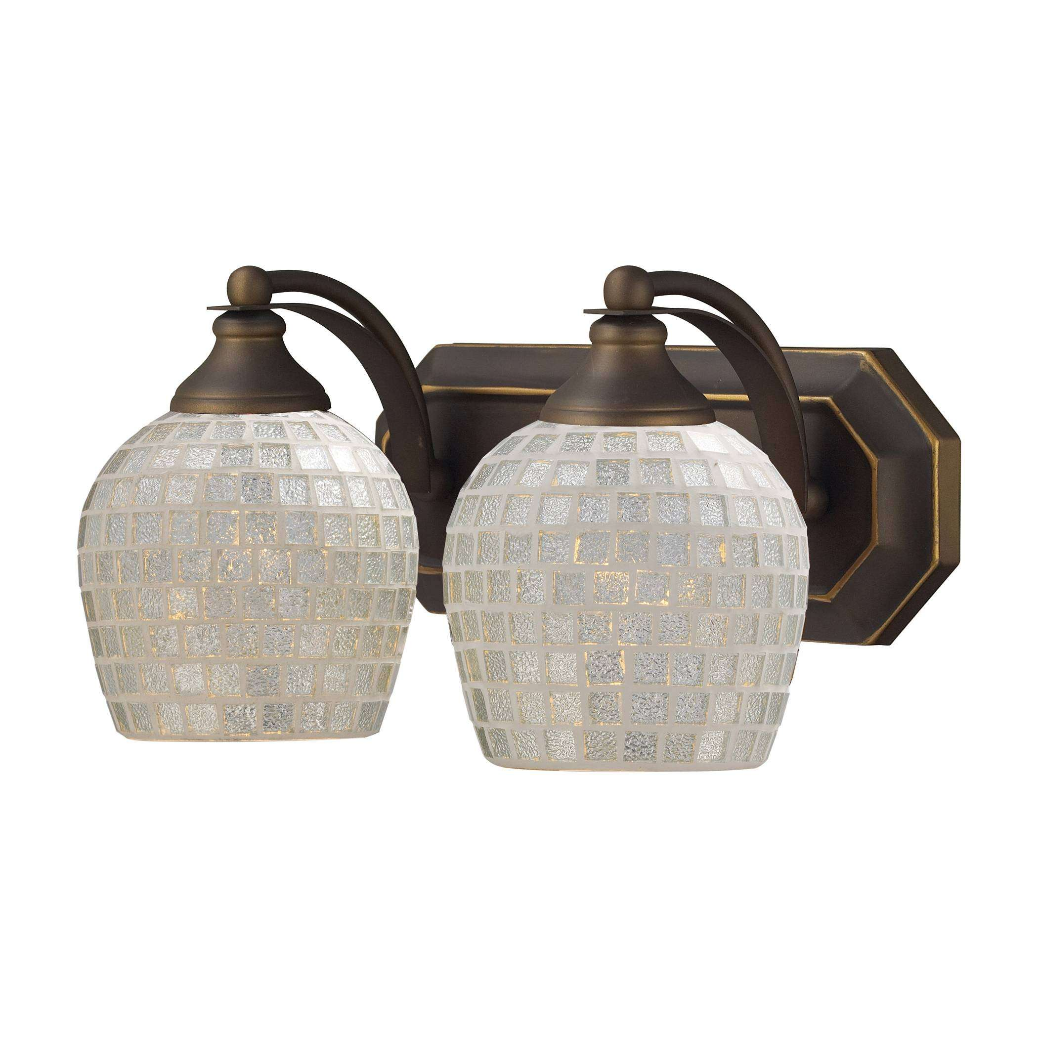 Elk Lighting 570-2B-SLV 2 Light Vanity In Aged Bronze And Silver Mosaic Glass