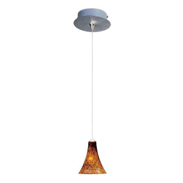 ET2 Contemporary Lighting E94533-104SN Minx 1-light Mini Pendant in Satin Nickel finish with Amber Leopard glass