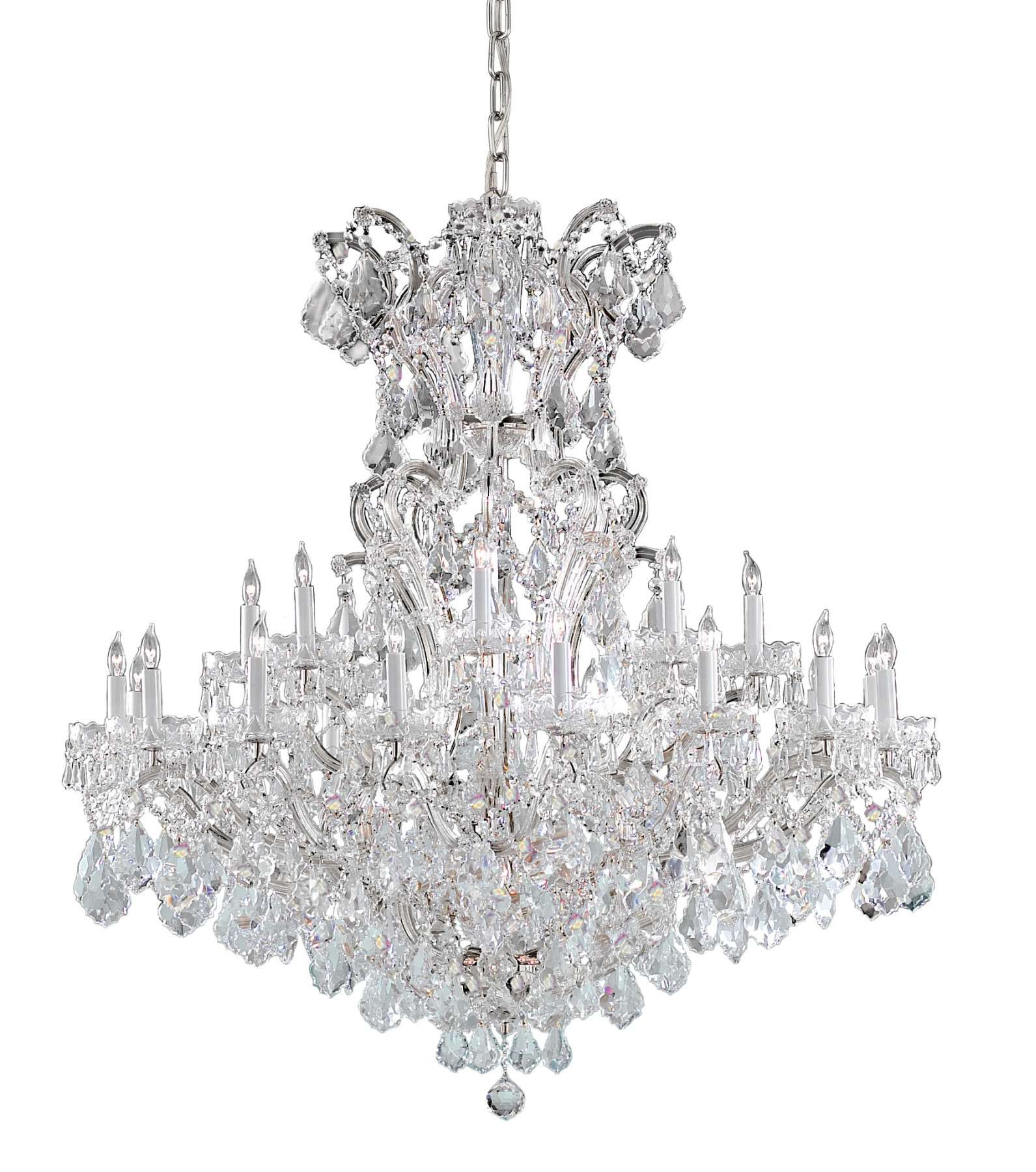 Crystorama 4424-CH-CL-SAQ Maria Theresa Chandelier Draped in Swarovski Spectra Crystal