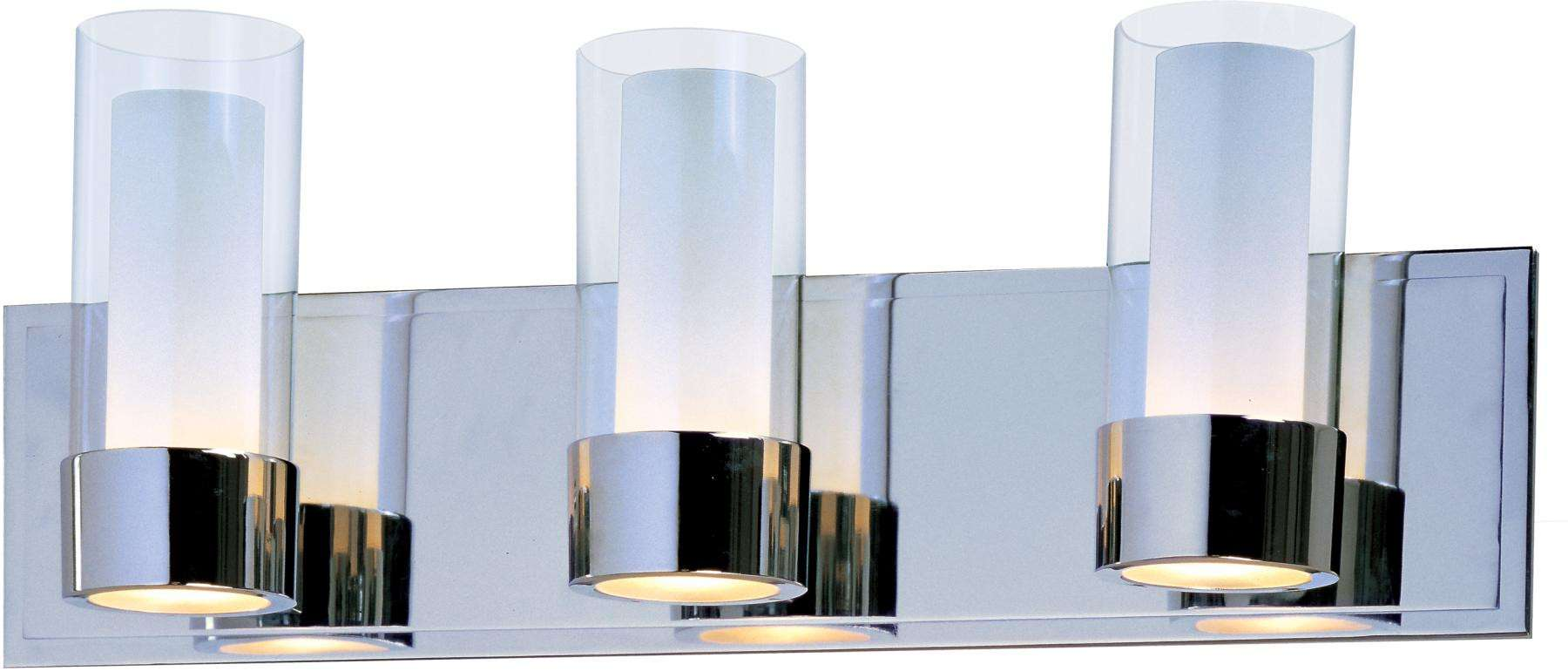 Maxim 23073CLFTPC Silo 3-Light Bath Vanity in Polished Chrome with Clear/Frosted glass.
