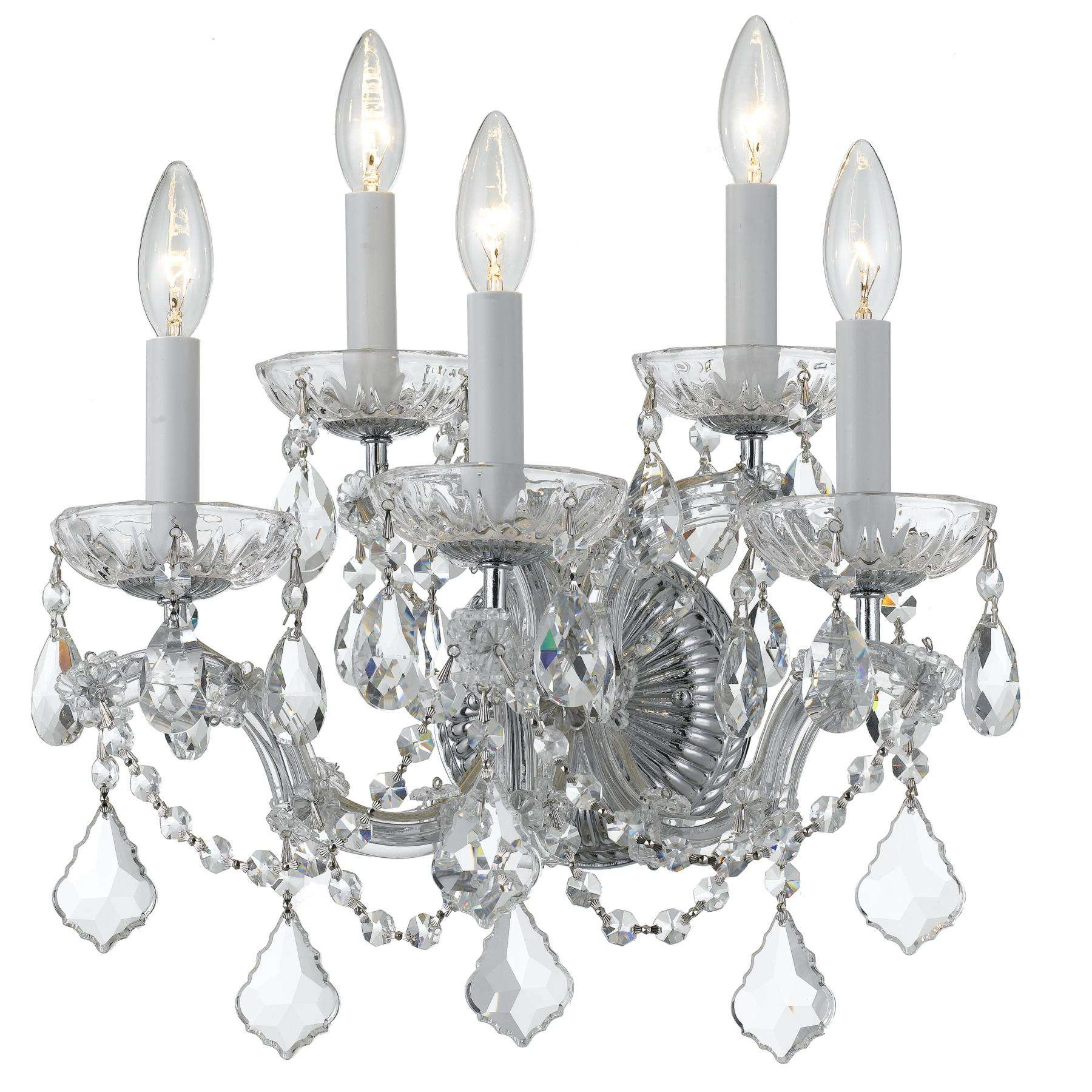 Crystorama 4404-CH-CL-SAQ Maria Theresa Wall Sconce Draped in Swarovski Spectra Crystal