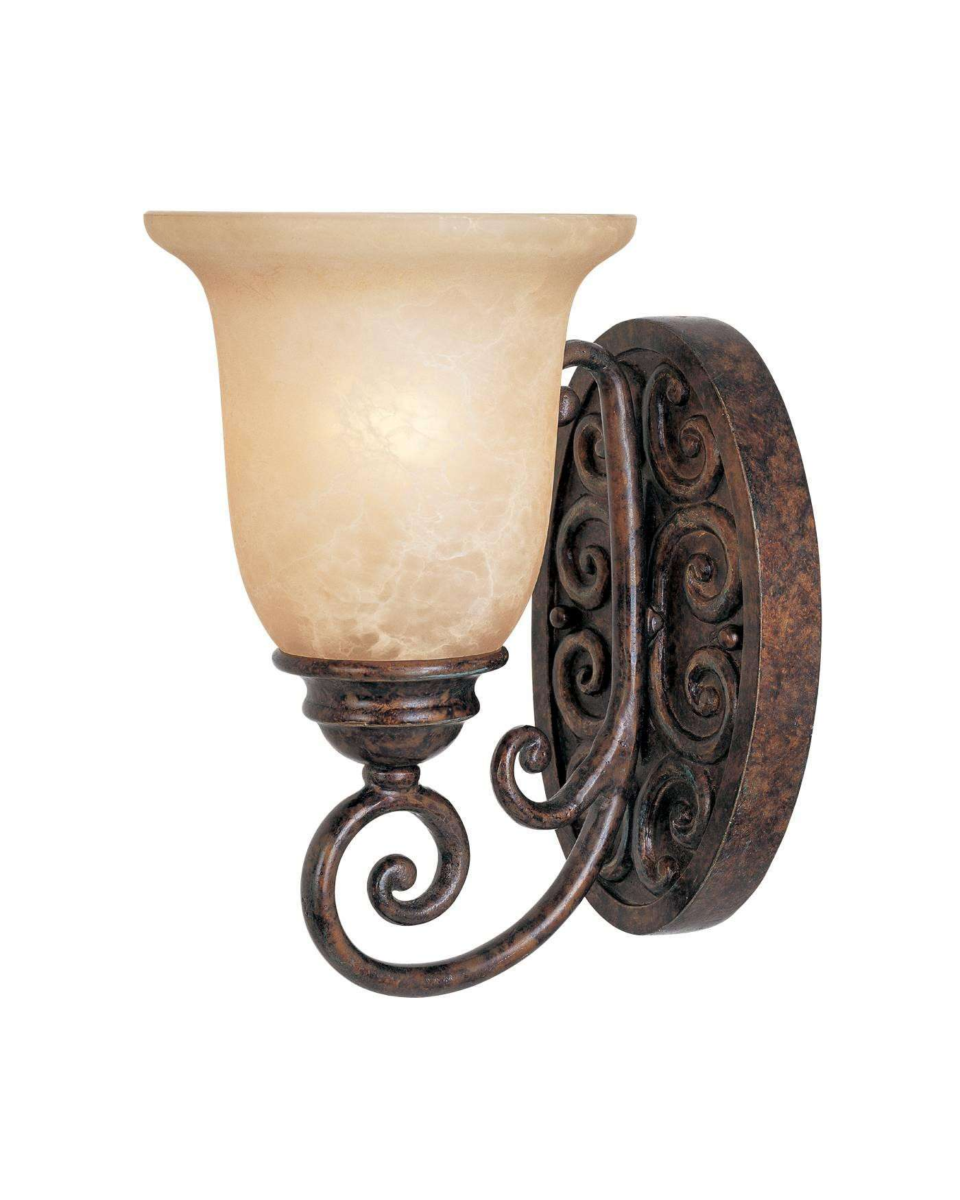 Designers Fountain 97501-BU Amherst Wall Sconce in Burnt Umber finish with Antique Harvest Beige glass