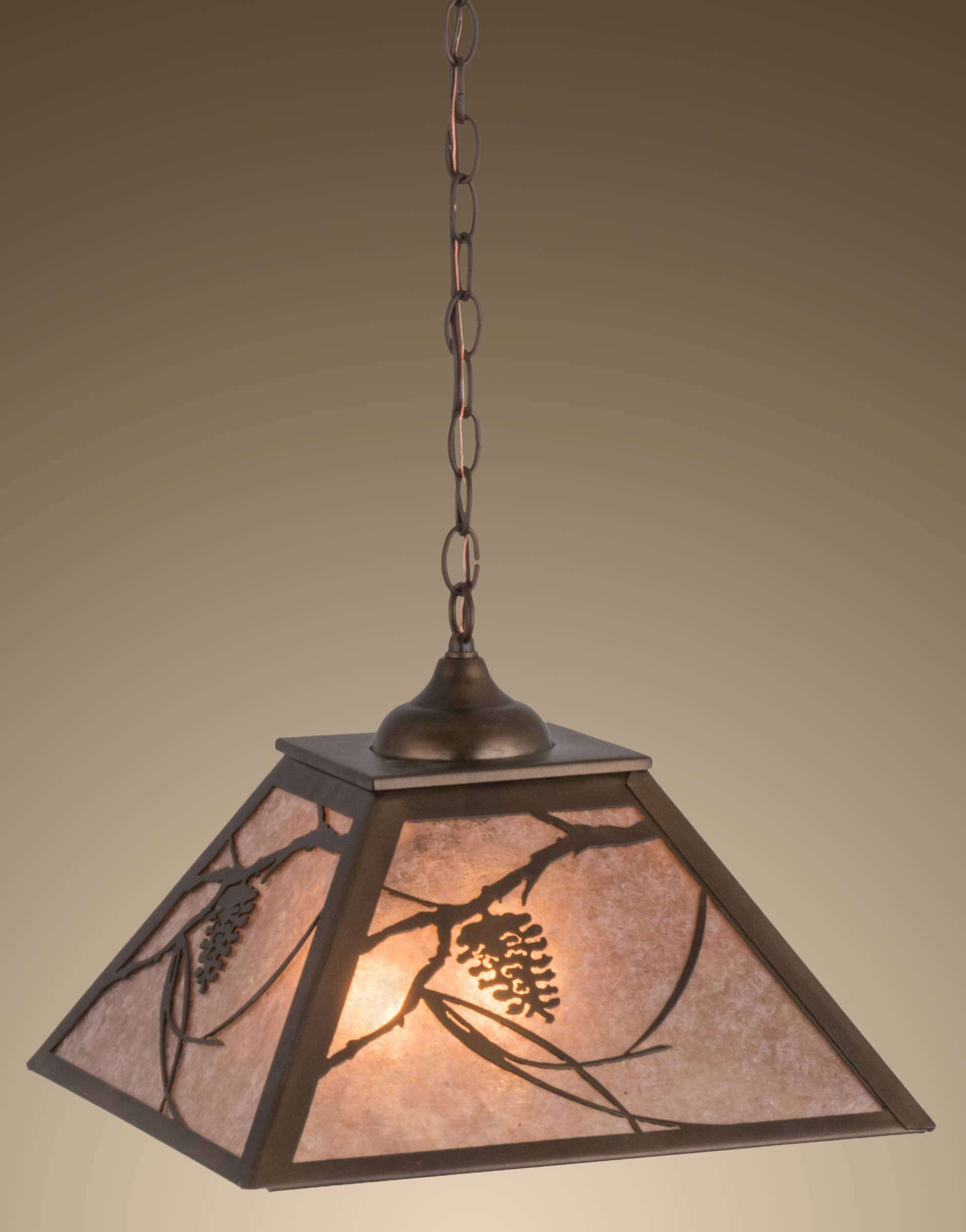 Meyda Tiffany 76316 Whispering Pines Pendant in Antique Copper finish with Silver Mica