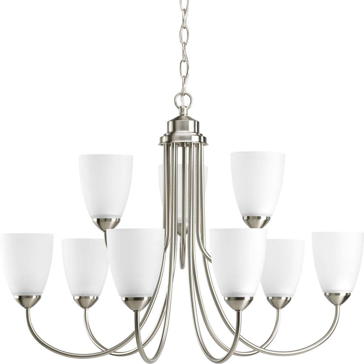 Progress P4627-09 Nine-light Chandelier in Brushed Nickel finish with etched glass.