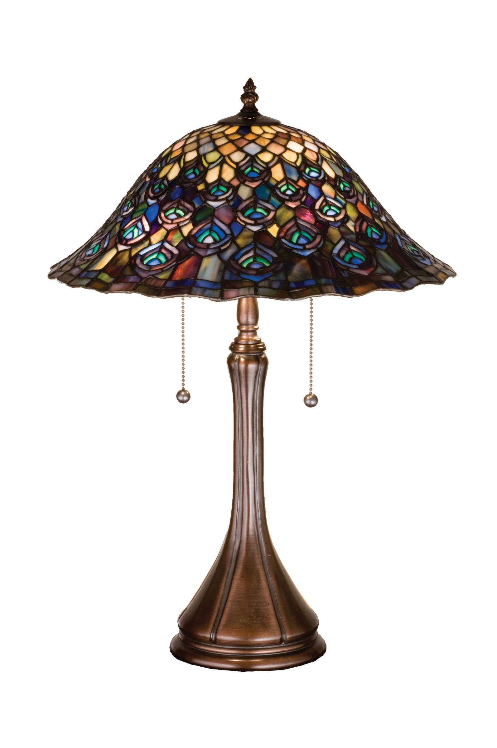 Meyda Tiffany 14574 Tiffany Peacock Feather Table Lamp in Copperfoil finish