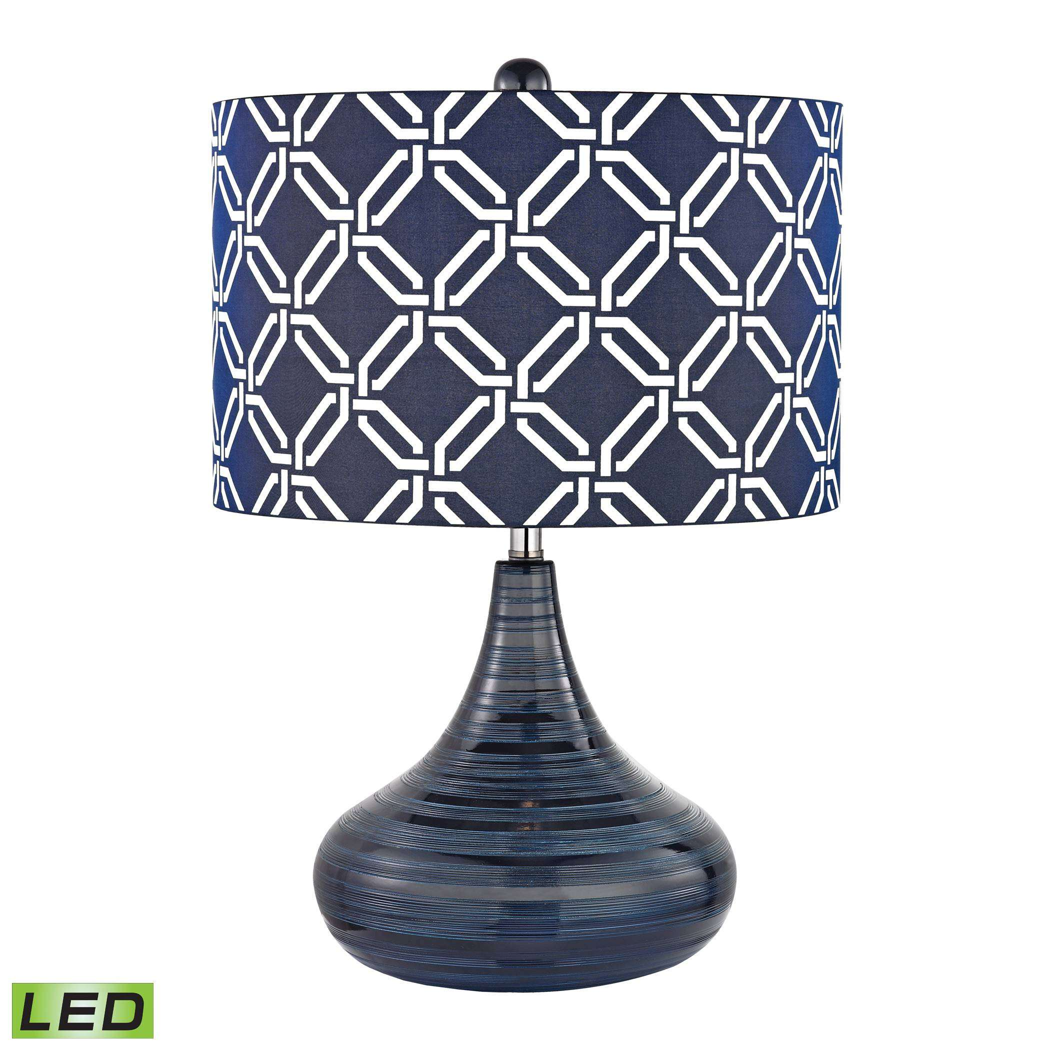 Peebles LED Table Lamp In Navy Blue With Blue With White Pattern Print - Shade