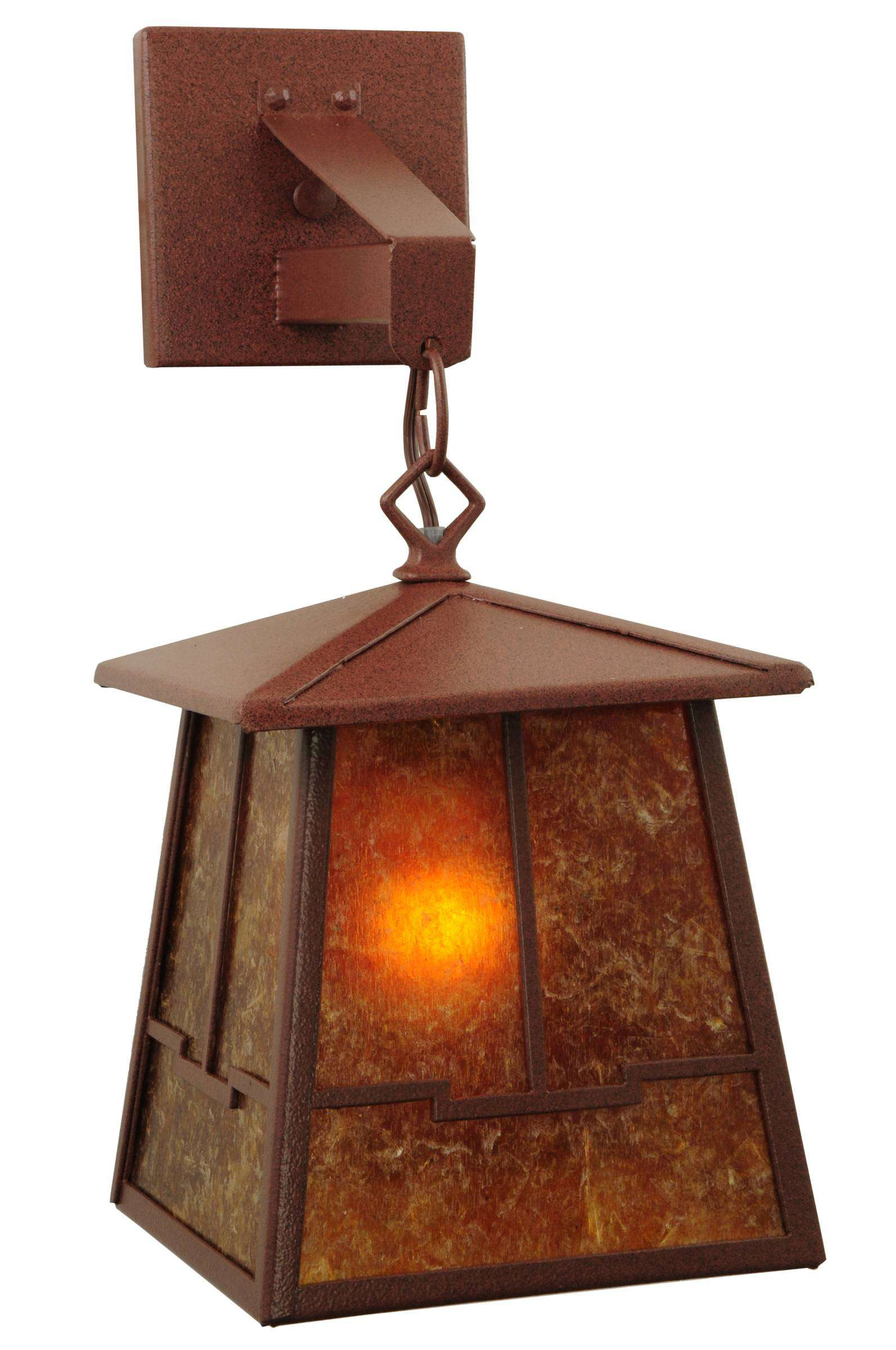 Meyda Tiffany 47748 Bungalow Valley View Hanging Wall Sconce in Rust finish with Amber Mica