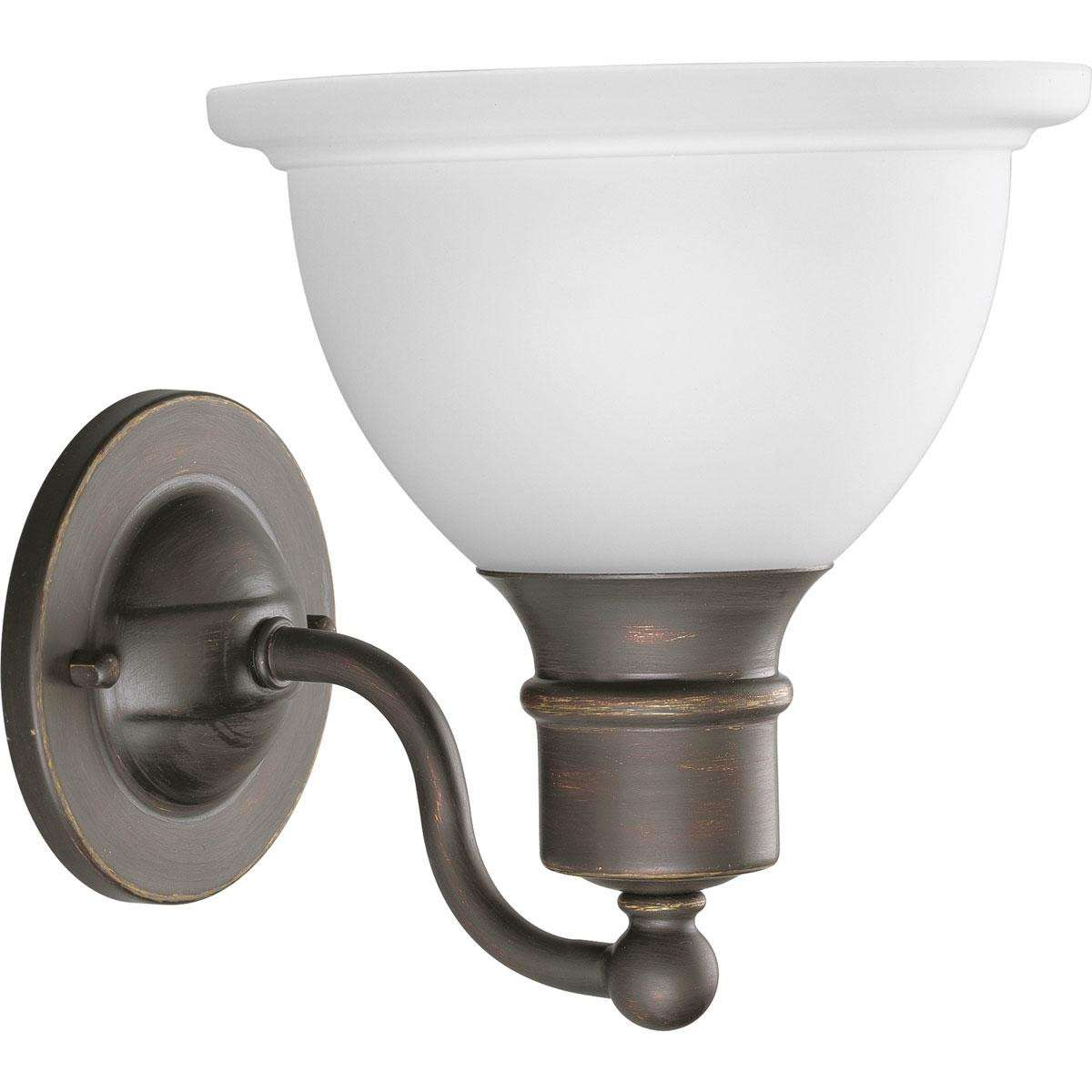 Progress P3161-20 One-light wall bracket in Antique Bronze finish with white etched glass.