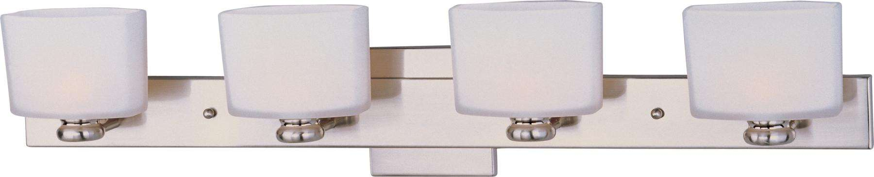 Maxim 9004SWSN Essence 4-Light Bath Vanity in Satin Nickel with Satin White glass.