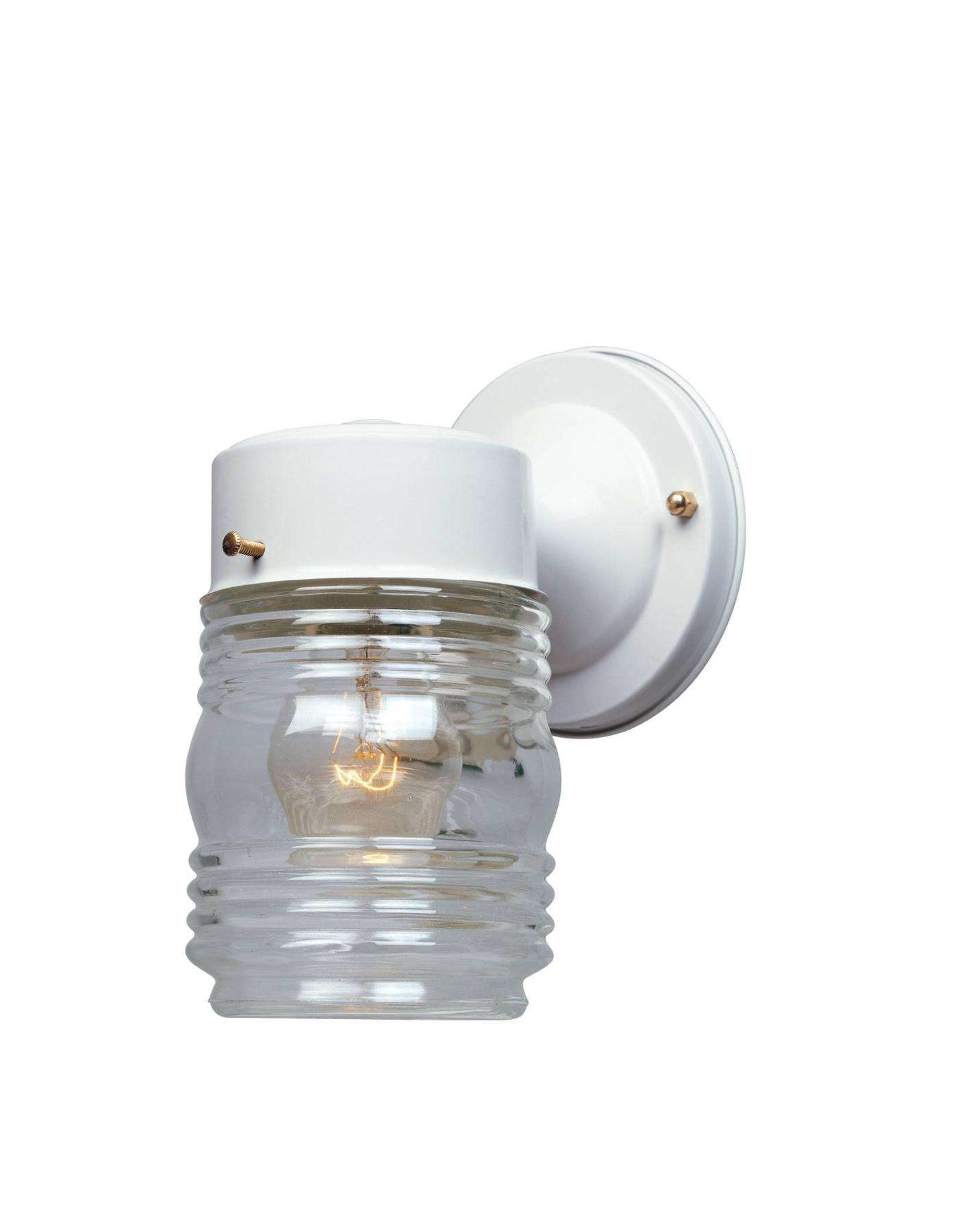 Designers Fountain 2061-WH Porch Jelly Jar Wall Light in White finish with Clear glass