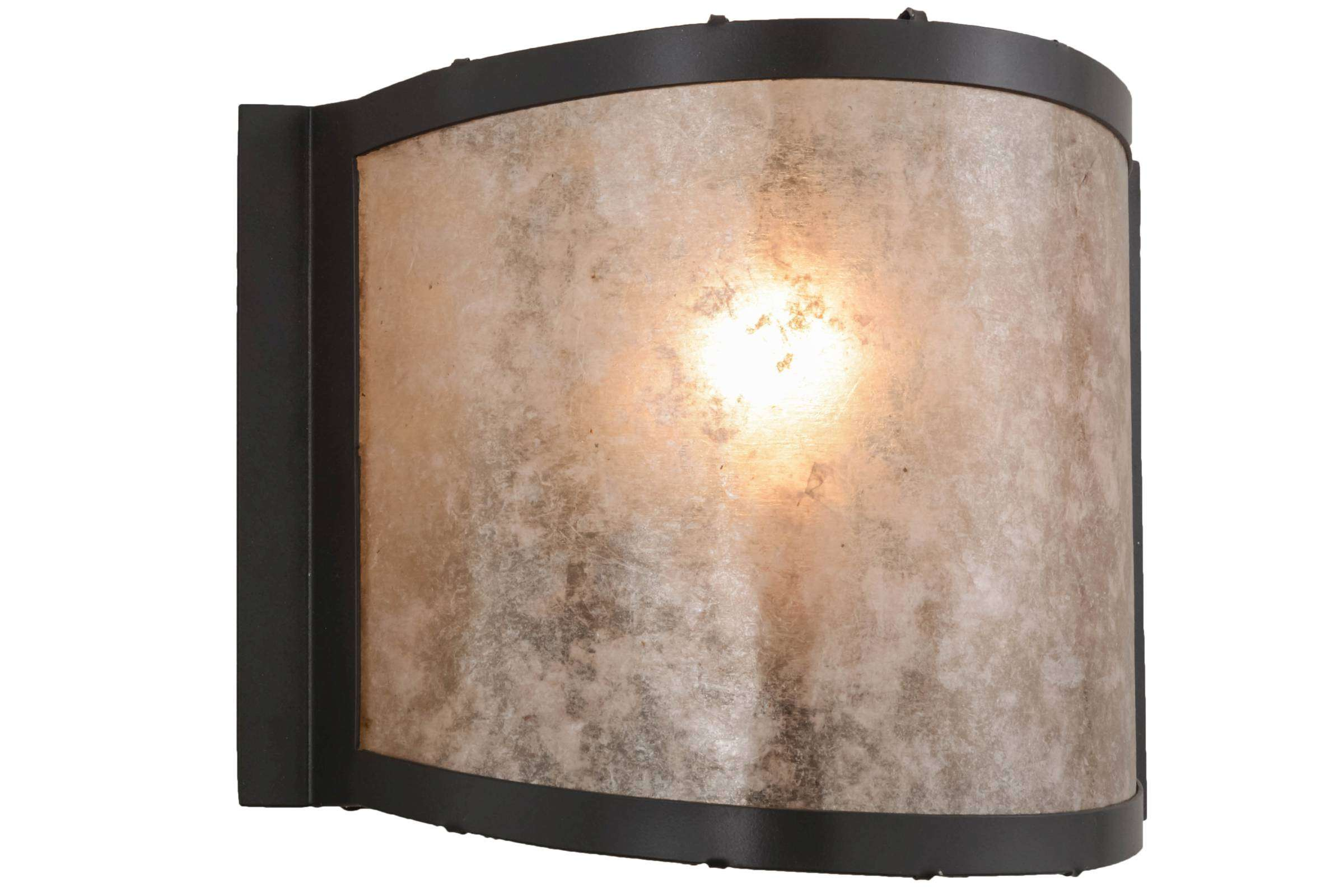 Meyda Tiffany 26920 Simple Mission Wall Sconce in Timeless Bronze finish with Silver Mica