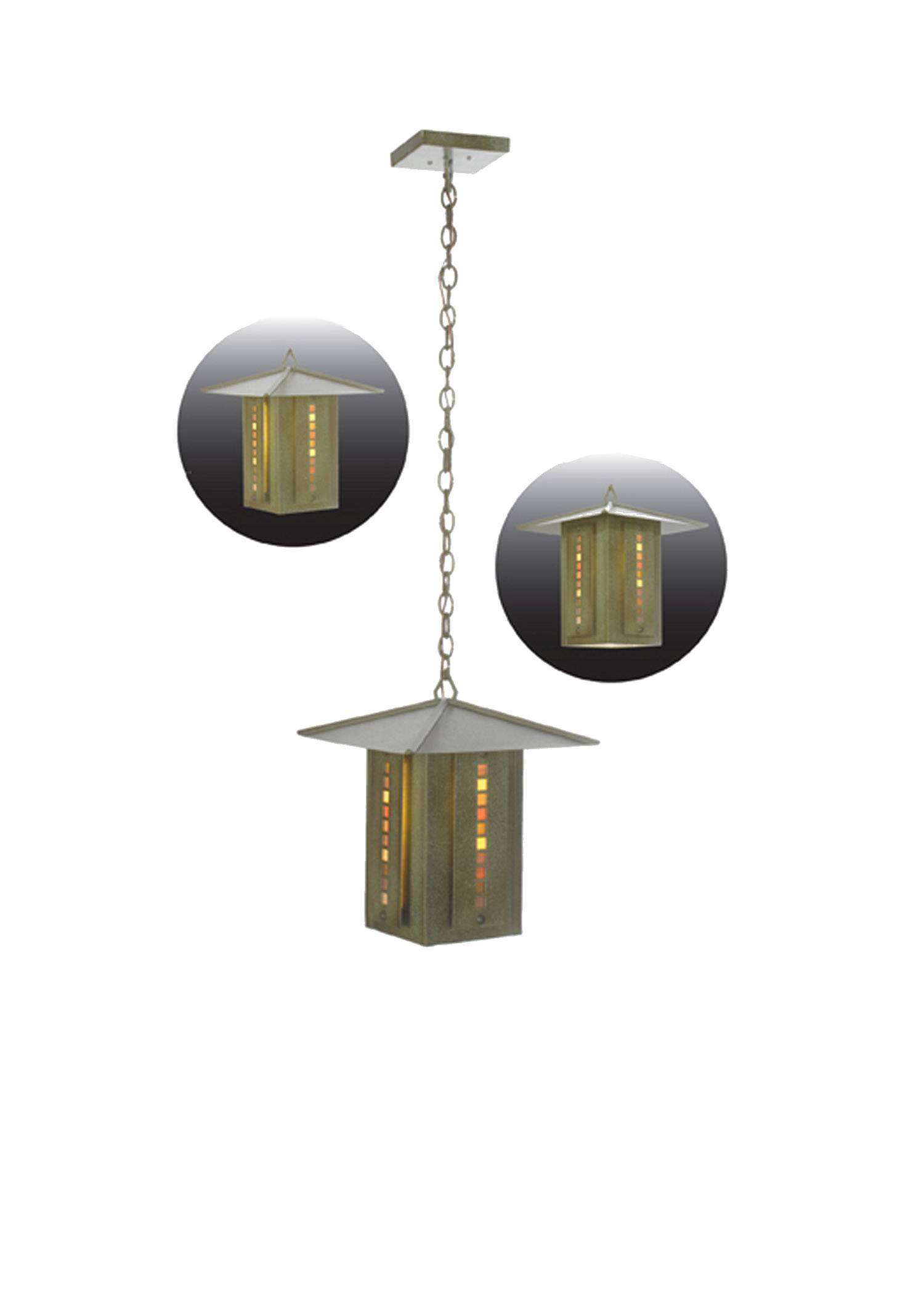 Meyda Tiffany 99412 Moss Creek Stepping Stone Lantern Pendant in Tarnished Copper finish with Glass Tile