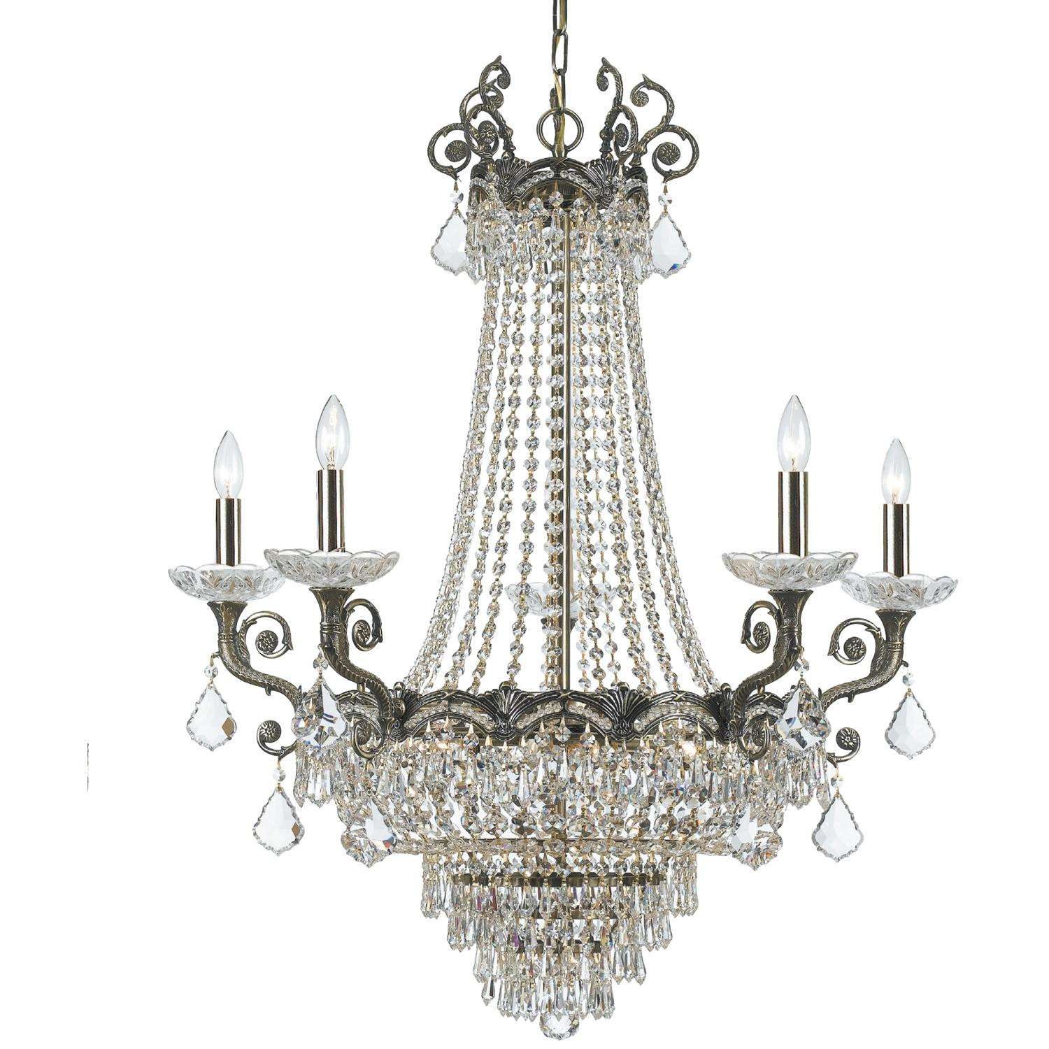 Crystorama 1486-HB-CL-S Sold Cast Brass Ornate Crystal Chandelier