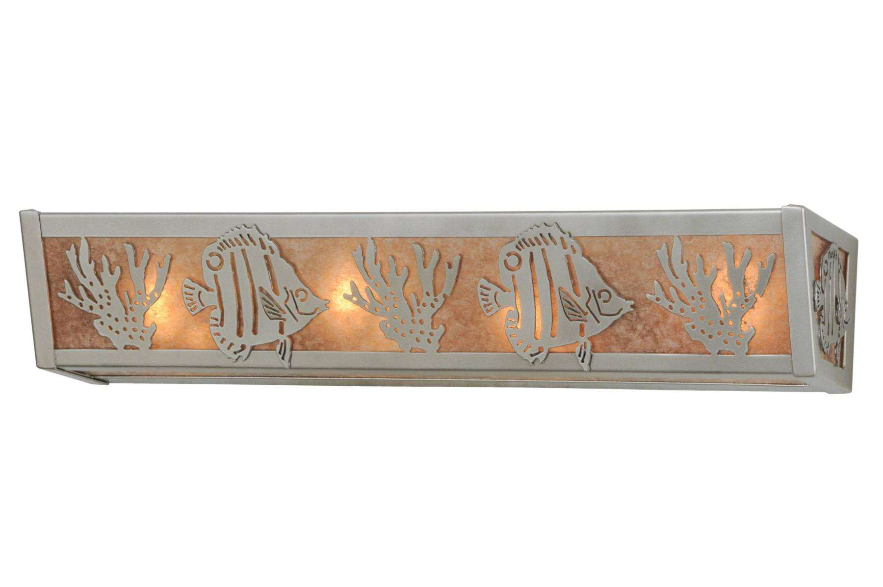 Meyda Tiffany 14387 Tropical Fish Vanity Light in Nickel finish with Silver Mica