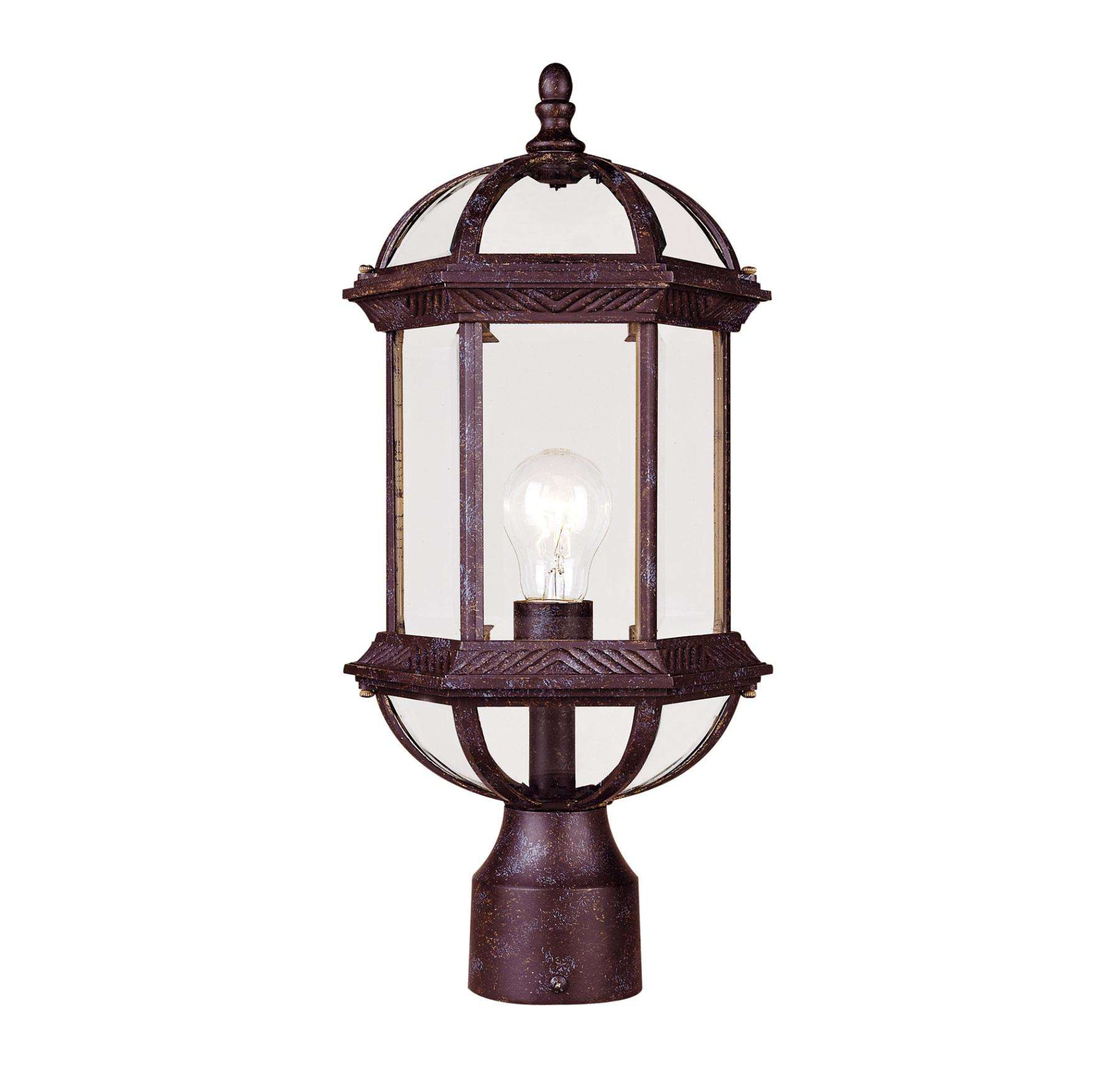 Savoy House 5-0632-72 Post Lantern in Rustic Bronze finish with Clear Beveled glass