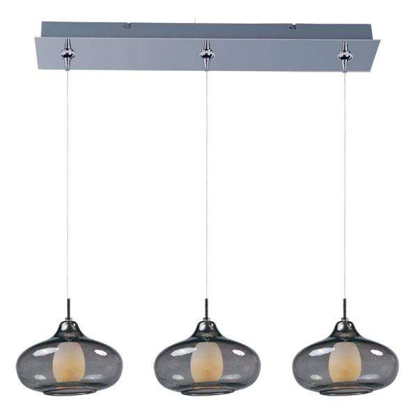 ET2 Contemporary Lighting E94848-142PC Minx 3-light Linear Pendant in Polished Chrome finish with Graduating Smoke glass