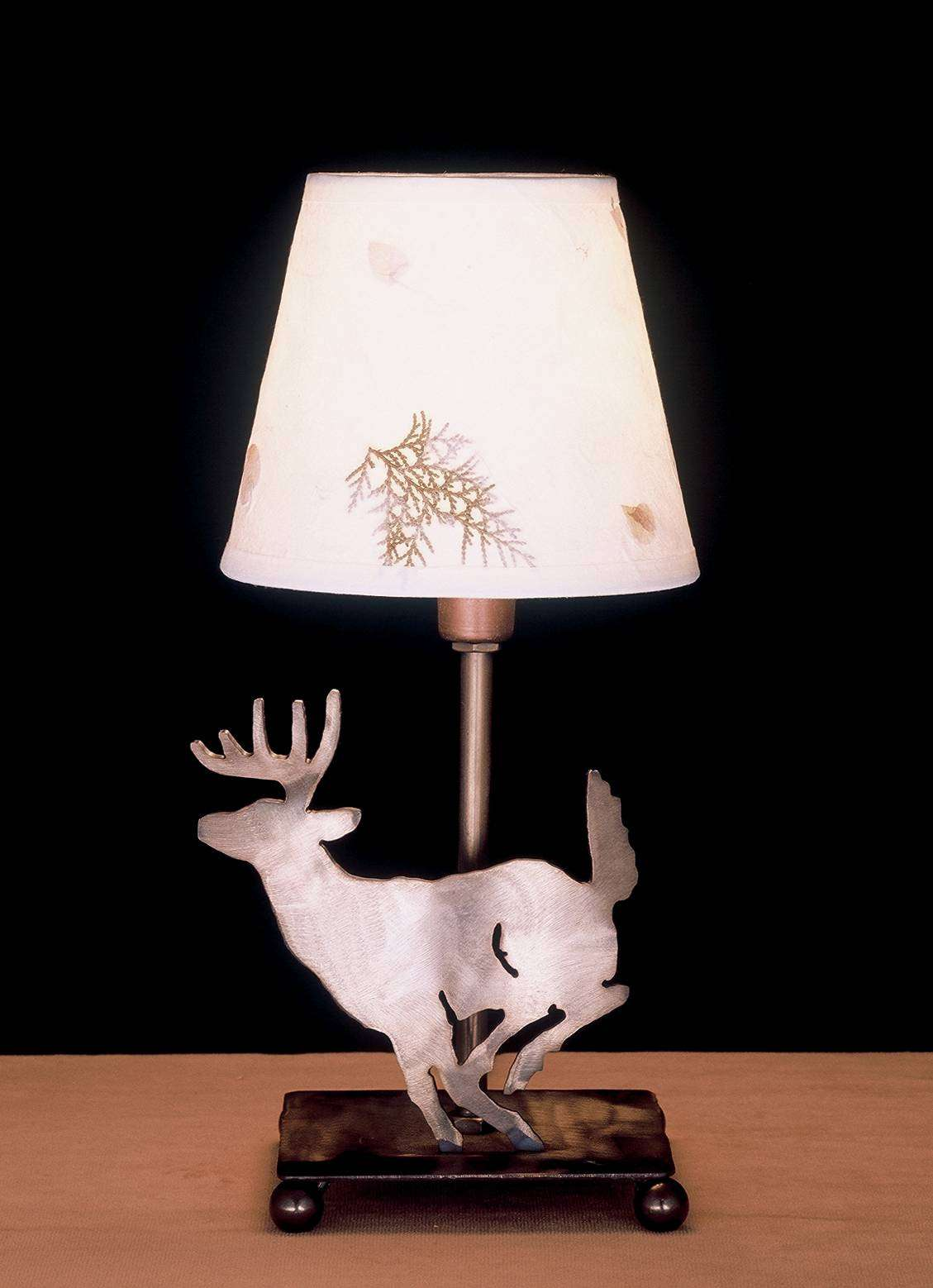 Meyda Tiffany 38771 Lone Deer Parchment Shade Accent Lamp in Antique Copper finish