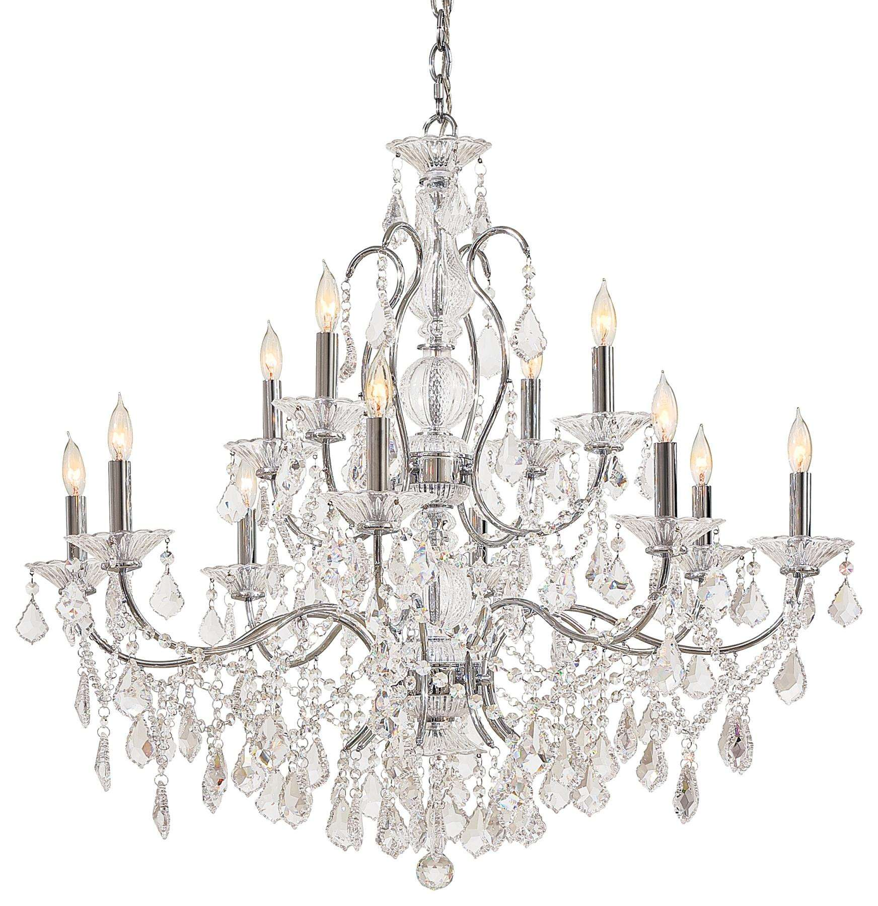 Metropolitan N8008 Twelve Light Chandelier in Chrome finish with Crystal