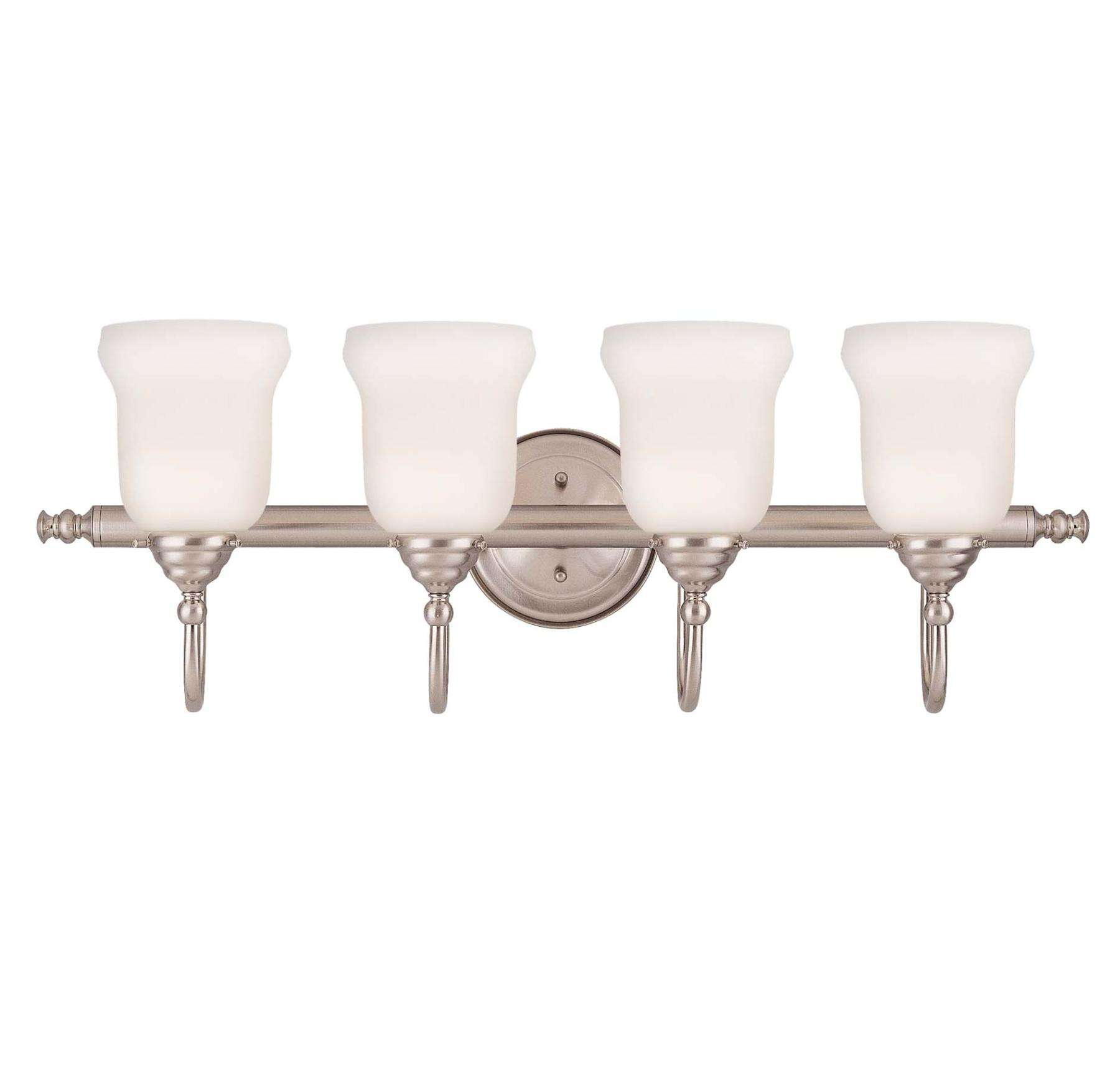 Savoy House 1062-4-SN Brunswick 4 Light Bath Bar in Satin Nickel Finish (glass sold separately)