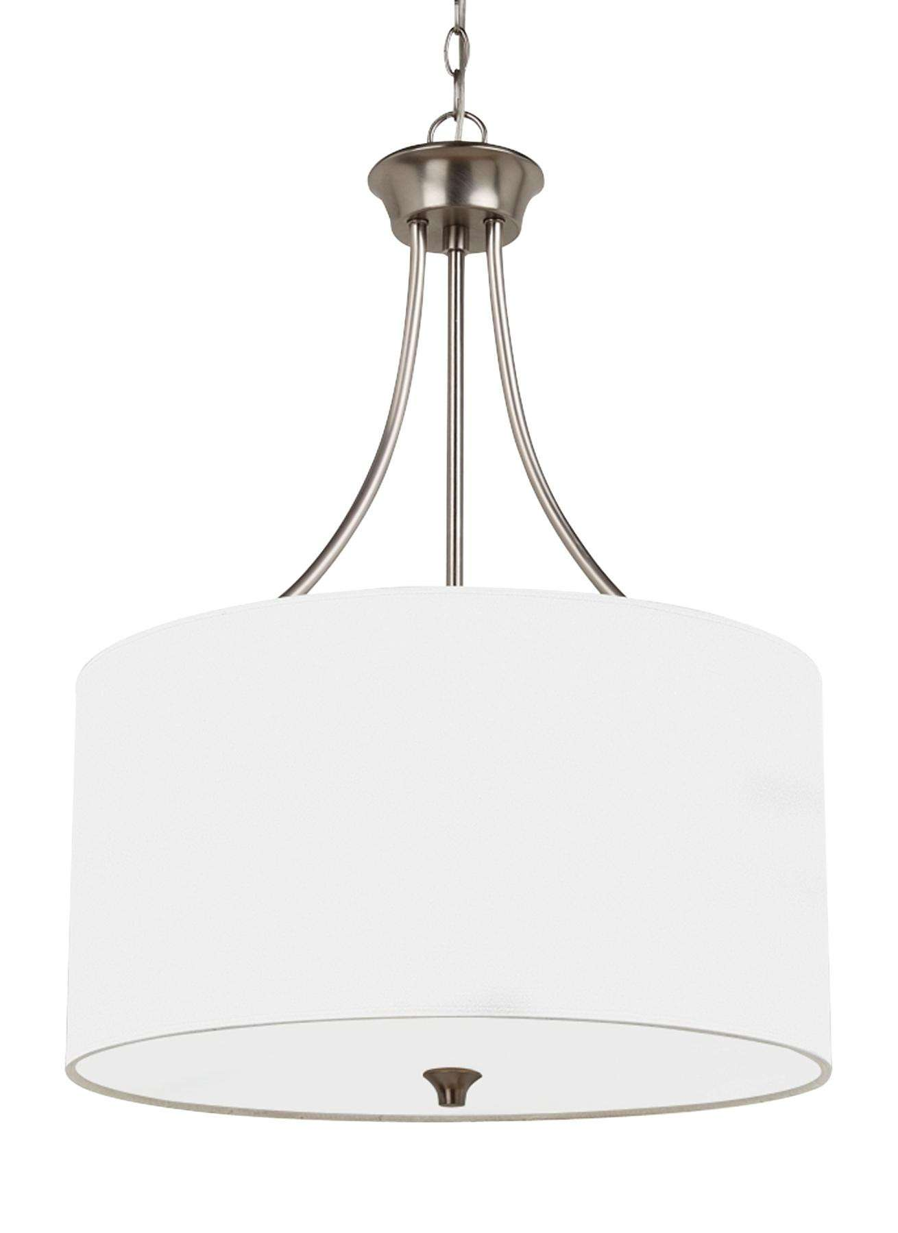 Seagull Lighting 65953-962 Three Light Pendant in Brushed Nickel finish
