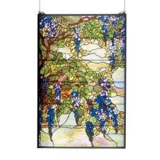 Meyda Tiffany 51338 Tiffany Wisteria and Snowball Stained Glass Window in Copperfoil finish