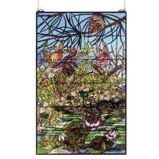 Meyda Tiffany 50563 Woodland Lilypond Stained Glass Window in Copperfoil finish