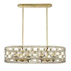 Clarion 8 Light Oval Chandelier in Gold Bullion with Clear Crystal