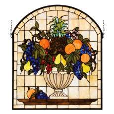 Meyda Tiffany 13297 Fruitbowl Stained Glass Window in Copperfoil finish