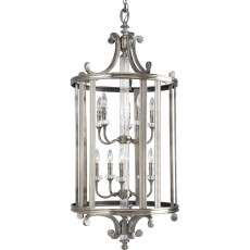 Progress P2816-101 Thomasville Lighting Ten-light foyer in Classic Silver finish with clear crystal glass.
