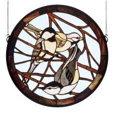 Meyda Tiffany 48607 Early Morning Visitors Medallion Stained Glass Window in Bark Brown finish