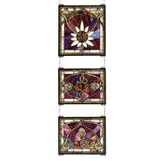 Meyda Tiffany 24411 Solstice 3 Piece Stained Glass Window in Copperfoil finish
