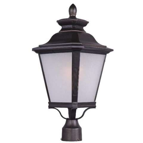 Knoxville LED 1-Light Outdoor Pole/Post Lantern in Bronze w/Frosted Seedy Glass