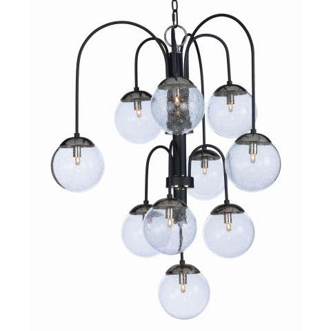 Reverb 10-Light Pendant in Textured Black / Polished Nickel