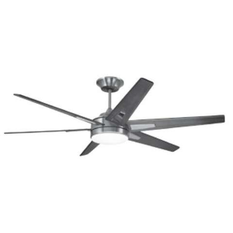 Emerson Rah ECO (DC Motor) Ceiling Fan Model CF915W60BS in Brushed Steel with Walnut blades.